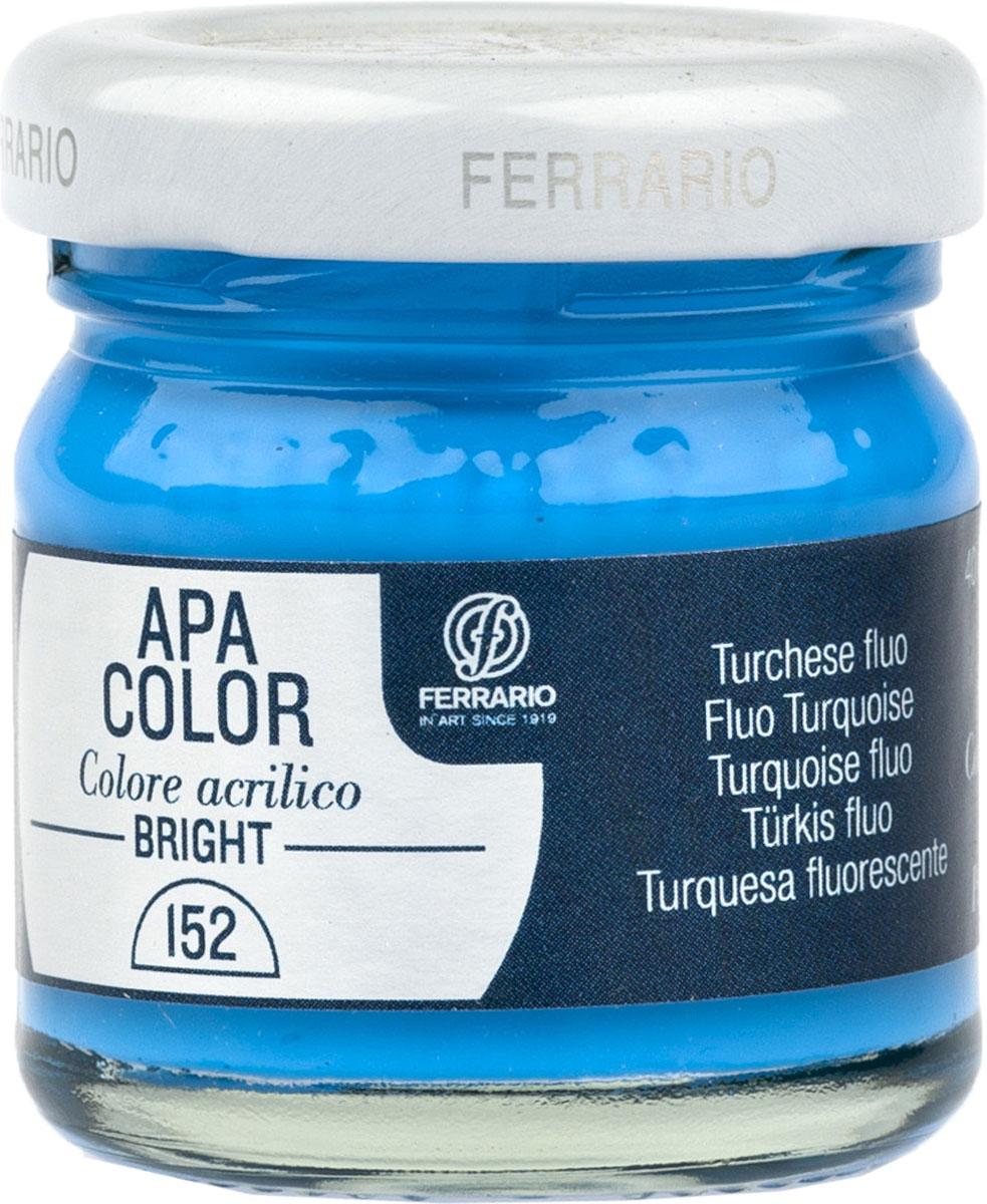 Ferrario Краска акриловая Apa Color цвет бирюзовый флуоресцентныйBA0040С0152Флуоресцентная акриловая краска Apa Color итальянской компании Ferrario на водной основе, готова к использованию. Основные качества акриловой краски Apa Color: прочность, светостойкость и экологичность. Благодаря акриловой смоле Apa Color пластична и не дает трещин. Именно поэтому краска прекрасно ложится на любые поверхности, будь то стекло, дерево или ткань, что особенно хорошо в дизайне и декоре. Она быстро сохнет, после высыхания становится водостойкой. Акриловая краска Apa Color не потускнеет со временем, ее светостойкость не позволит измениться цвету, он не выгорит на солнце и не пожелтеет. Акриловая краска Apa Color – это отличный выбор в пользу яркой живописи, так как в ее палитре только глубокие и насыщенные цвета. Из-за того, что акриловая краска Apa Color на водной основе, она почти совсем не пахнет, малотоксична – подходит для работы в помещениях, можно заниматься творчеством вместе с детьми. Акриловая краска Apa Color разводится водой, однако это не значит, что для нее нельзя использовать специальные растворители и медиумы, предназначенные для акриловых красок – в этом случае сохраняется высокая пигментированность, но объем краски увеличивается и появляется возможность создания различных фактур и эффектов. Акриловую краску Apa Color легко наносить кистью, шпателем, валиком.