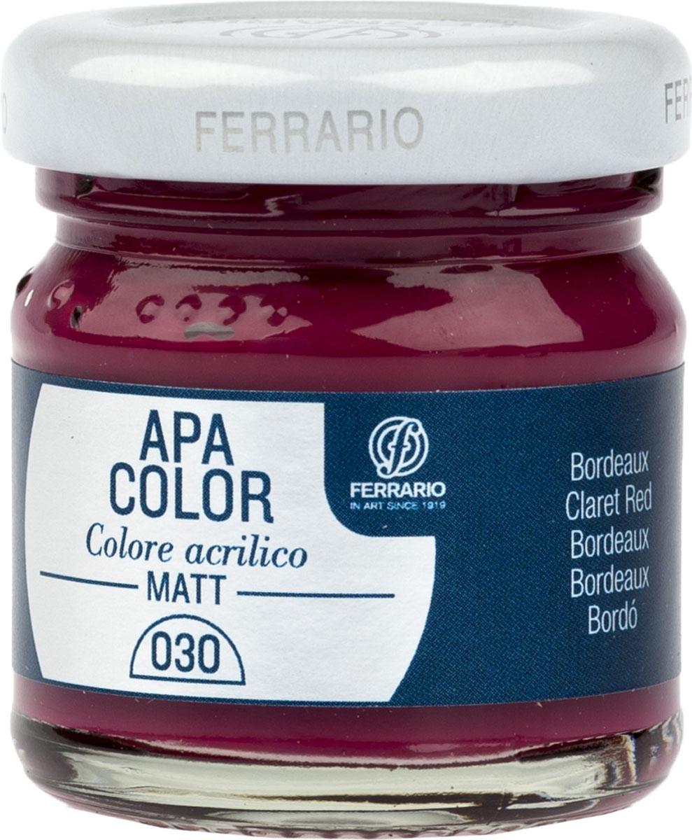 Ferrario Краска акриловая Apa Color цвет бордовый BA0040А0030BA0040А0030Матовая акриловая краска Apa Color итальянской компании Ferrario на водной основе, готова к использованию. Основные качества акриловой краски Apa Color: прочность, светостойкость и экологичность. Благодаря акриловой смоле Apa Color пластична и не дает трещин. Именно поэтому краска прекрасно ложится на любые поверхности, будь то стекло, дерево или ткань, что особенно хорошо в дизайне и декоре. Она быстро сохнет, после высыхания становится водостойкой. Акриловая краска Apa Color не потускнеет со временем, ее светостойкость не позволит измениться цвету, он не выгорит на солнце и не пожелтеет. Акриловая краска Apa Color – это отличный выбор в пользу яркой живописи, так как в ее палитре только глубокие и насыщенные цвета. Из-за того, что акриловая краска Apa Color на водной основе, она почти совсем не пахнет, малотоксична – подходит для работы в помещениях, можно заниматься творчеством вместе с детьми. Акриловая краска Apa Color разводится водой, однако это не значит, что для нее нельзя использовать специальные растворители и медиумы, предназначенные для акриловых красок – в этом случае сохраняется высокая пигментированность, но объем краски увеличивается и появляется возможность создания различных фактур и эффектов. Акриловую краску Apa Color легко наносить кистью, шпателем, валиком.