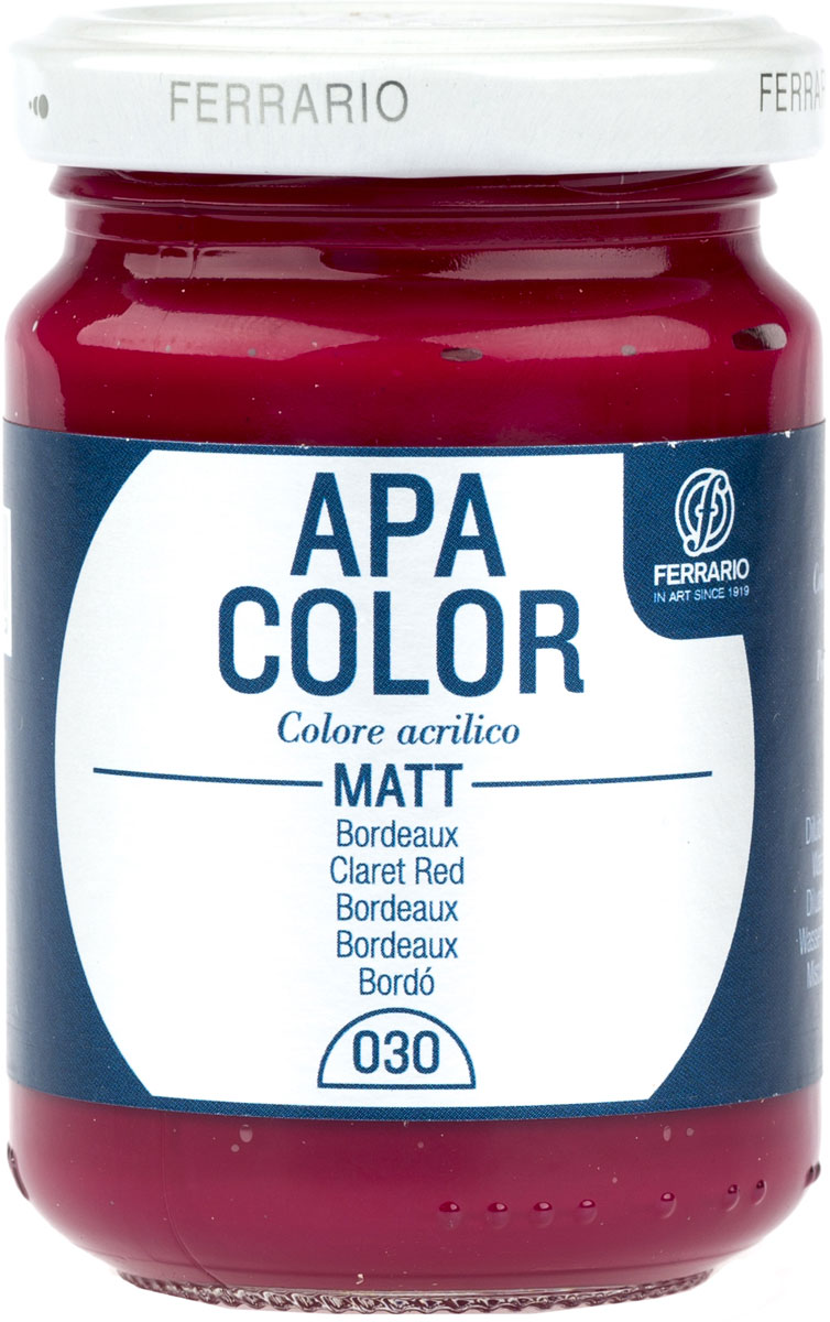 Ferrario Краска акриловая Apa Color цвет бордовый BA0095AO030831-049Матовая акриловая краска Apa Color итальянской компании Ferrario на водной основе, готова к использованию. Основные качества акриловой краски Apa Color: прочность, светостойкость и экологичность. Благодаря акриловой смоле Apa Color пластична и не дает трещин. Именно поэтому краска прекрасно ложится на любые поверхности, будь то стекло, дерево или ткань, что особенно хорошо в дизайне и декоре. Она быстро сохнет, после высыхания становится водостойкой. Акриловая краска Apa Color не потускнеет со временем, ее светостойкость не позволит измениться цвету, он не выгорит на солнце и не пожелтеет. Акриловая краска Apa Color – это отличный выбор в пользу яркой живописи, так как в ее палитре только глубокие и насыщенные цвета. Из-за того, что акриловая краска Apa Color на водной основе, она почти совсем не пахнет, малотоксична – подходит для работы в помещениях, можно заниматься творчеством вместе с детьми. Акриловая краска Apa Color разводится водой, однако это не значит, что для нее нельзя использовать специальные растворители и медиумы, предназначенные для акриловых красок – в этом случае сохраняется высокая пигментированность, но объем краски увеличивается и появляется возможность создания различных фактур и эффектов. Акриловую краску Apa Color легко наносить кистью, шпателем, валиком.