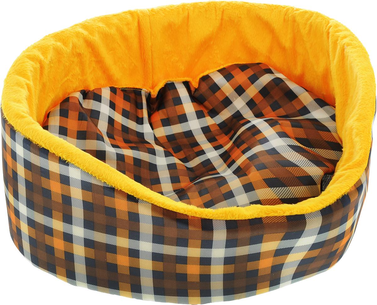 Лежак для кошек и собак GLG Нежность, цвет: коричневый, желтый, 40 x 36 x 15 смL002/A_коричневый, желтыйМягкий лежак GLG Нежность обязательно понравится вашему питомцу. Он выполнен из качественного сочетания хлопка с полиэстером и дополнен набивкой из поролона. Материал не теряет своей формы долгое время. Высокие бортики обеспечат вашему любимцу уют. Мягкий лежак станет излюбленным местом вашего питомца, подарит ему спокойный икомфортный сон, а также убережет вашу мебель от шерсти.