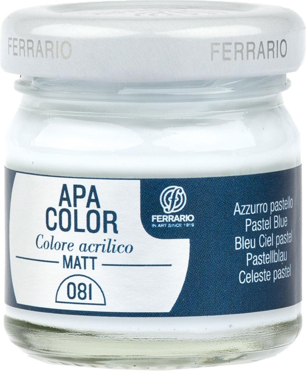 Ferrario Краска акриловая Apa Color цвет голубой пастельныйBA0040А0081Матовая акриловая краска Apa Color итальянской компании Ferrario на водной основе, готова к использованию. Основные качества акриловой краски Apa Color: прочность, светостойкость и экологичность. Благодаря акриловой смоле Apa Color пластична и не дает трещин. Именно поэтому краска прекрасно ложится на любые поверхности, будь то стекло, дерево или ткань, что особенно хорошо в дизайне и декоре. Она быстро сохнет, после высыхания становится водостойкой. Акриловая краска Apa Color не потускнеет со временем, ее светостойкость не позволит измениться цвету, он не выгорит на солнце и не пожелтеет. Акриловая краска Apa Color – это отличный выбор в пользу яркой живописи, так как в ее палитре только глубокие и насыщенные цвета. Из-за того, что акриловая краска Apa Color на водной основе, она почти совсем не пахнет, малотоксична – подходит для работы в помещениях, можно заниматься творчеством вместе с детьми. Акриловая краска Apa Color разводится водой, однако это не значит, что для нее нельзя использовать специальные растворители и медиумы, предназначенные для акриловых красок – в этом случае сохраняется высокая пигментированность, но объем краски увеличивается и появляется возможность создания различных фактур и эффектов. Акриловую краску Apa Color легко наносить кистью, шпателем, валиком.