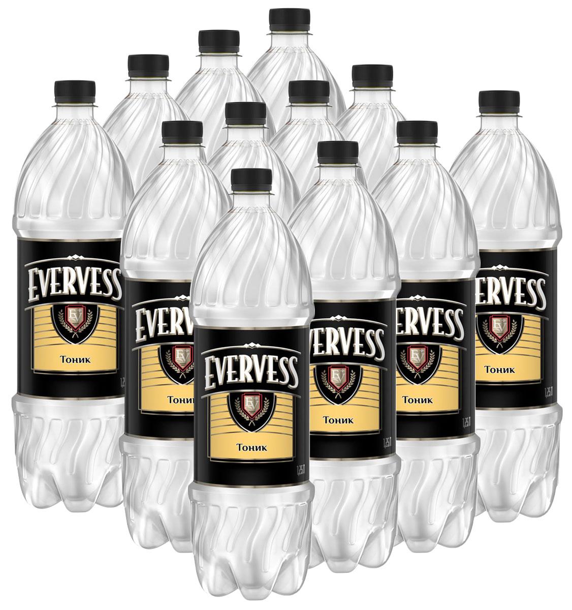 Evervess Тоник напиток сильногазированный, 12 штук по 1,25 л340023939_блокиИзвестные на весь мир тоники. Идеально подходят для приготовления коктейлей.О бренде:Известный на весь мир бренд тоников Evervess. Тоники обладают освежающим вкусом с характерной горчинкой, идеально подходящим для приготовления коктейлей.