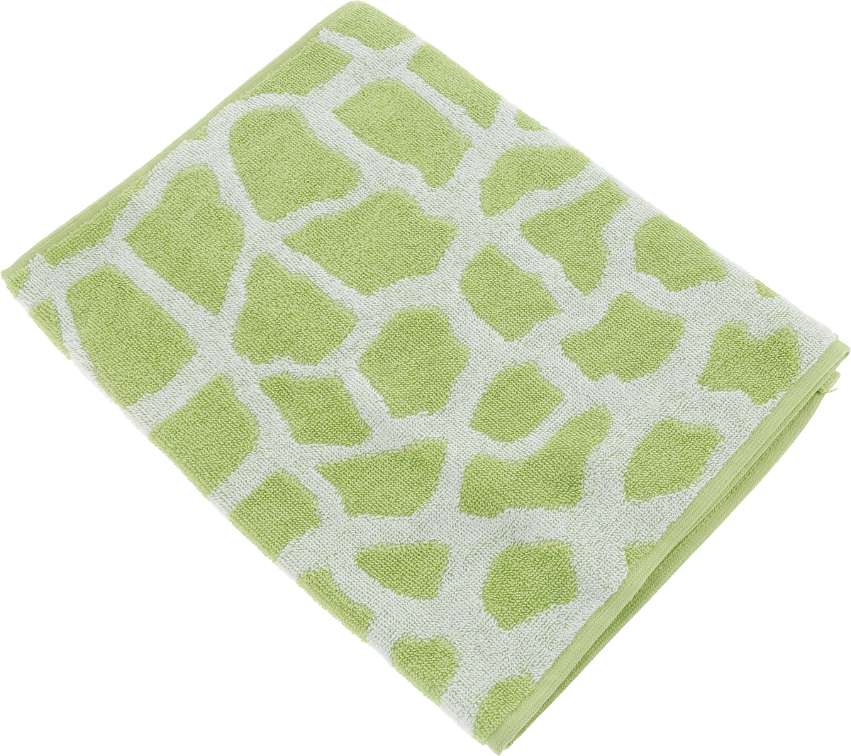 Полотенце банное Aquarelle Мадагаскар. Жираф, цвет: белый, травяной, 35 х 70 см. 713160713160Полотенце банное AQUARELLE, размер 35х70см, серия-Мадагаскар жираф, белый, травяной