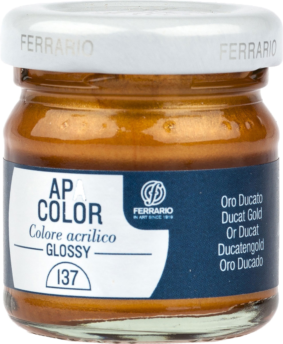 Ferrario Краска акриловая Apa Color цвет дукатное золото BA0040В0137BA0040В0137Глянцевая акриловая краска Apa Color итальянской компании Ferrario на водной основе, готова к использованию. Основные качества акриловой краски Apa Color: прочность, светостойкость и экологичность. Благодаря акриловой смоле Apa Color пластична и не дает трещин. Именно поэтому краска прекрасно ложится на любые поверхности, будь то стекло, дерево или ткань, что особенно хорошо в дизайне и декоре. Она быстро сохнет, после высыхания становится водостойкой. Акриловая краска Apa Color не потускнеет со временем, ее светостойкость не позволит измениться цвету, он не выгорит на солнце и не пожелтеет. Акриловая краска Apa Color – это отличный выбор в пользу яркой живописи, так как в ее палитре только глубокие и насыщенные цвета. Из-за того, что акриловая краска Apa Color на водной основе, она почти совсем не пахнет, малотоксична – подходит для работы в помещениях, можно заниматься творчеством вместе с детьми. Акриловая краска Apa Color разводится водой, однако это не значит, что для нее нельзя использовать специальные растворители и медиумы, предназначенные для акриловых красок – в этом случае сохраняется высокая пигментированность, но объем краски увеличивается и появляется возможность создания различных фактур и эффектов. Акриловую краску Apa Color легко наносить кистью, шпателем, валиком.