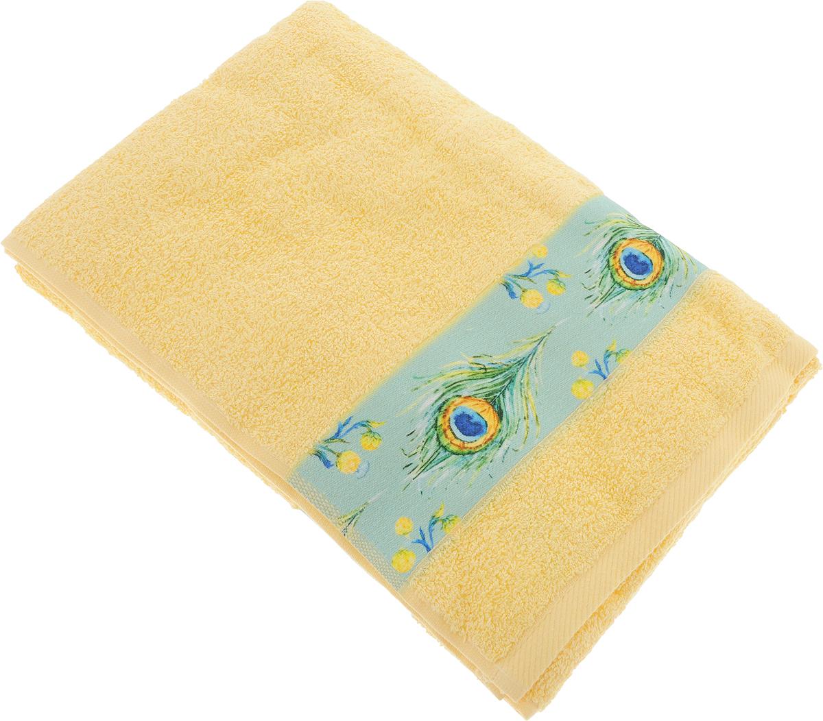Полотенце банное Aquarelle Фотобордюр. Павлин 1, цвет: желтый, 70 х 140 см. 709821709821Полотенце банное AQUARELLE, размер 70х140см, серия-Фотобордюр павлин 1, желтый