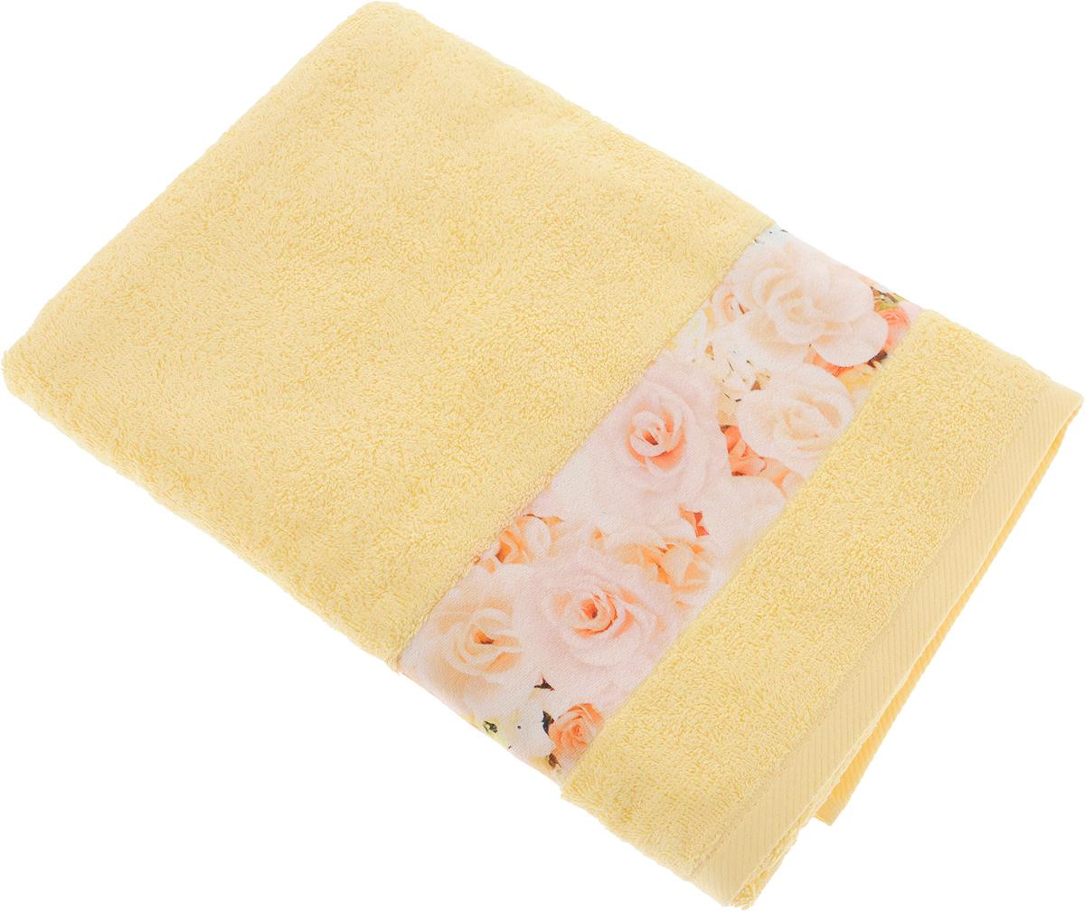 Полотенце банное Aquarelle Фотобордюр. Цветы 3, цвет: желтый, 70 х 140 см. 709819709819Полотенце банное AQUARELLE, размер 70х140см, серия-Фотобордюр цветы 3, желтый