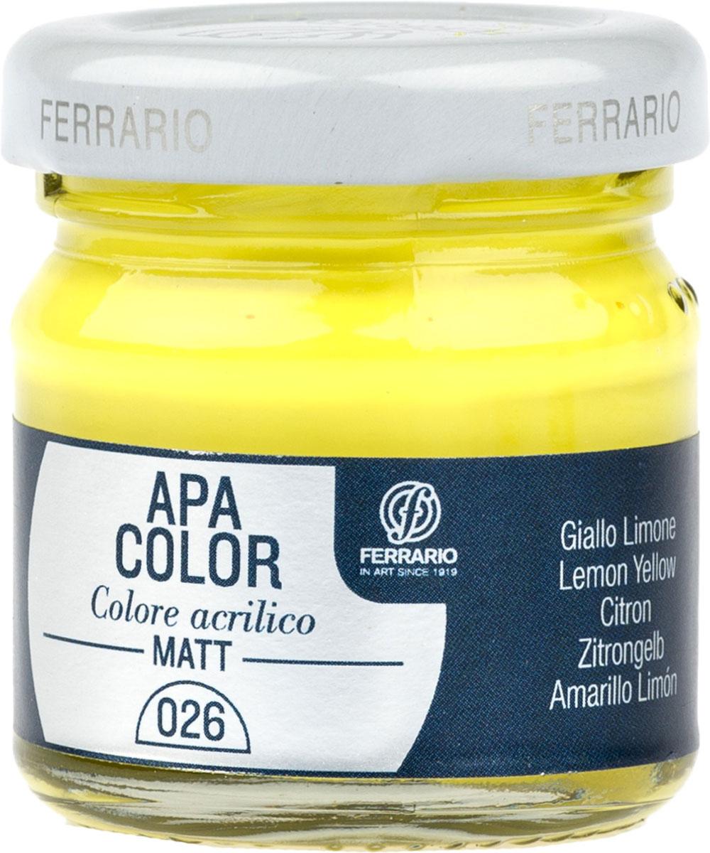Ferrario Краска акриловая Apa Color цвет желтый лимонныйBA0040А0026Матовая акриловая краска Apa Color итальянской компании Ferrario на водной основе, готова к использованию. Основные качества акриловой краски Apa Color: прочность, светостойкость и экологичность. Благодаря акриловой смоле Apa Color пластична и не дает трещин. Именно поэтому краска прекрасно ложится на любые поверхности, будь то стекло, дерево или ткань, что особенно хорошо в дизайне и декоре. Она быстро сохнет, после высыхания становится водостойкой. Акриловая краска Apa Color не потускнеет со временем, ее светостойкость не позволит измениться цвету, он не выгорит на солнце и не пожелтеет. Акриловая краска Apa Color – это отличный выбор в пользу яркой живописи, так как в ее палитре только глубокие и насыщенные цвета. Из-за того, что акриловая краска Apa Color на водной основе, она почти совсем не пахнет, малотоксична – подходит для работы в помещениях, можно заниматься творчеством вместе с детьми. Акриловая краска Apa Color разводится водой, однако это не значит, что для нее нельзя использовать специальные растворители и медиумы, предназначенные для акриловых красок – в этом случае сохраняется высокая пигментированность, но объем краски увеличивается и появляется возможность создания различных фактур и эффектов. Акриловую краску Apa Color легко наносить кистью, шпателем, валиком.