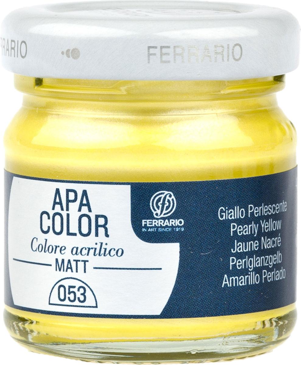 Ferrario Краска акриловая Apa Color цвет желтый перламутровыйBA0040а0053Матовая акриловая краска Apa Color итальянской компании Ferrario на водной основе, готова к использованию. Основные качества акриловой краски Apa Color: прочность, светостойкость и экологичность. Благодаря акриловой смоле Apa Color пластична и не дает трещин. Именно поэтому краска прекрасно ложится на любые поверхности, будь то стекло, дерево или ткань, что особенно хорошо в дизайне и декоре. Она быстро сохнет, после высыхания становится водостойкой. Акриловая краска Apa Color не потускнеет со временем, ее светостойкость не позволит измениться цвету, он не выгорит на солнце и не пожелтеет. Акриловая краска Apa Color – это отличный выбор в пользу яркой живописи, так как в ее палитре только глубокие и насыщенные цвета. Из-за того, что акриловая краска Apa Color на водной основе, она почти совсем не пахнет, малотоксична – подходит для работы в помещениях, можно заниматься творчеством вместе с детьми. Акриловая краска Apa Color разводится водой, однако это не значит, что для нее нельзя использовать специальные растворители и медиумы, предназначенные для акриловых красок – в этом случае сохраняется высокая пигментированность, но объем краски увеличивается и появляется возможность создания различных фактур и эффектов. Акриловую краску Apa Color легко наносить кистью, шпателем, валиком.