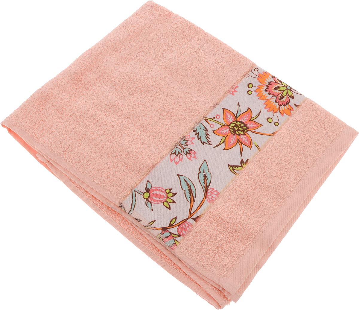 Полотенце банное Aquarelle Фотобордюр. Цветы 2, цвет: розово-персиковый, 50 х 90 см bon appetit кухонное полотенце aquarelle 38х63 см