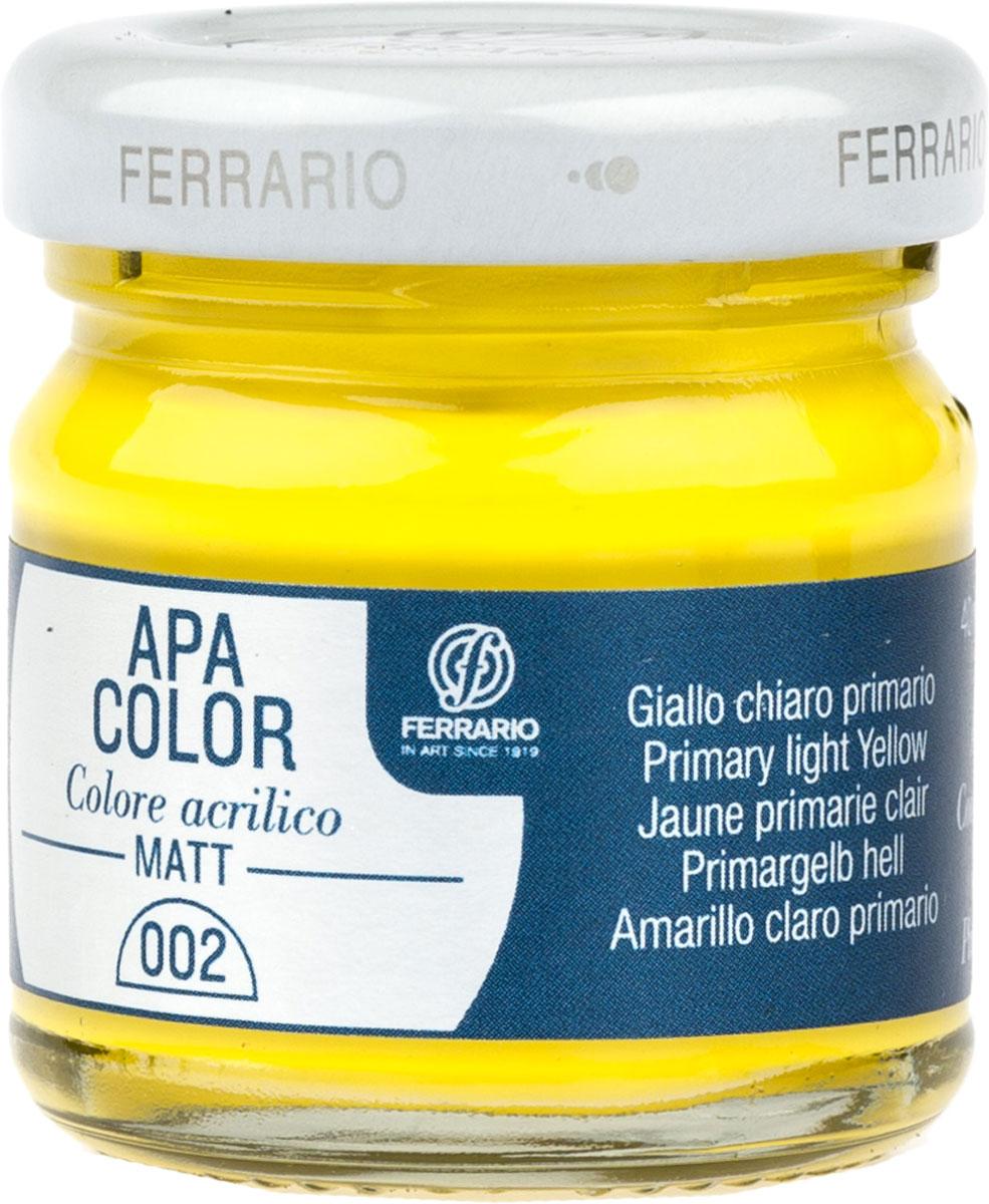 Ferrario Краска акриловая Apa Color цвет желтый светлыйBA0040А0002Матовая акриловая краска Apa Color итальянской компании Ferrario на водной основе, готова к использованию. Основные качества акриловой краски Apa Color: прочность, светостойкость и экологичность. Благодаря акриловой смоле Apa Color пластична и не дает трещин. Именно поэтому краска прекрасно ложится на любые поверхности, будь то стекло, дерево или ткань, что особенно хорошо в дизайне и декоре. Она быстро сохнет, после высыхания становится водостойкой. Акриловая краска Apa Color не потускнеет со временем, ее светостойкость не позволит измениться цвету, он не выгорит на солнце и не пожелтеет. Акриловая краска Apa Color – это отличный выбор в пользу яркой живописи, так как в ее палитре только глубокие и насыщенные цвета. Из-за того, что акриловая краска Apa Color на водной основе, она почти совсем не пахнет, малотоксична – подходит для работы в помещениях, можно заниматься творчеством вместе с детьми. Акриловая краска Apa Color разводится водой, однако это не значит, что для нее нельзя использовать специальные растворители и медиумы, предназначенные для акриловых красок – в этом случае сохраняется высокая пигментированность, но объем краски увеличивается и появляется возможность создания различных фактур и эффектов. Акриловую краску Apa Color легко наносить кистью, шпателем, валиком.