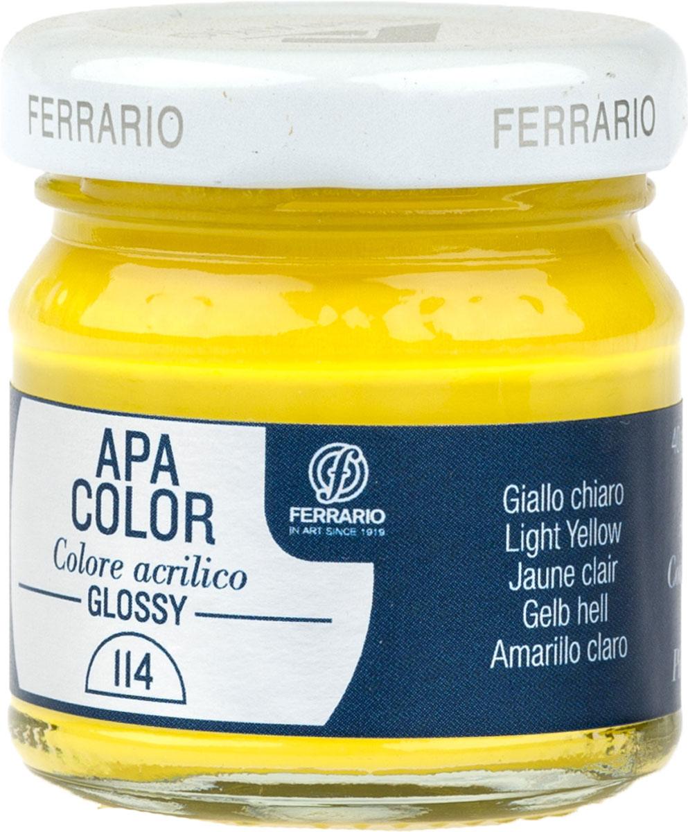 Ferrario Краска акриловая Apa Color цвет желтый светлый глянцевыйBA0040В0114Глянцевая акриловая краска Apa Color итальянской компании Ferrario на водной основе, готова к использованию. Основные качества акриловой краски Apa Color: прочность, светостойкость и экологичность. Благодаря акриловой смоле Apa Color пластична и не дает трещин. Именно поэтому краска прекрасно ложится на любые поверхности, будь то стекло, дерево или ткань, что особенно хорошо в дизайне и декоре. Она быстро сохнет, после высыхания становится водостойкой. Акриловая краска Apa Color не потускнеет со временем, ее светостойкость не позволит измениться цвету, он не выгорит на солнце и не пожелтеет. Акриловая краска Apa Color – это отличный выбор в пользу яркой живописи, так как в ее палитре только глубокие и насыщенные цвета. Из-за того, что акриловая краска Apa Color на водной основе, она почти совсем не пахнет, малотоксична – подходит для работы в помещениях, можно заниматься творчеством вместе с детьми. Акриловая краска Apa Color разводится водой, однако это не значит, что для нее нельзя использовать специальные растворители и медиумы, предназначенные для акриловых красок – в этом случае сохраняется высокая пигментированность, но объем краски увеличивается и появляется возможность создания различных фактур и эффектов. Акриловую краску Apa Color легко наносить кистью, шпателем, валиком.