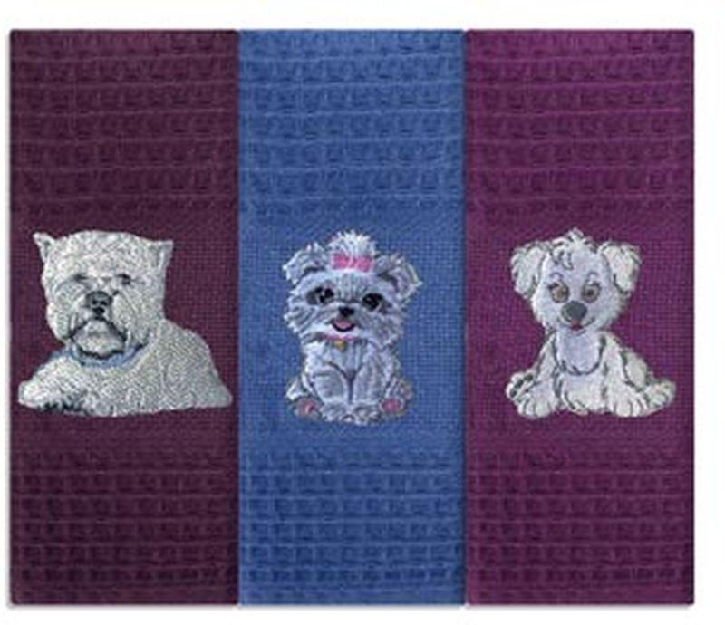 """Набор Soavita """"Мини собачки"""" состоит из трех полотенец, выполненных из 100% хлопка. Изделия предназначены для использования на кухне и в столовой.  Полотенца упакованы в пластиковую сумку с текстильной ручкой. Набор полотенец Soavita - отличное приобретение для каждой хозяйки.Комплектация: 3 шт."""