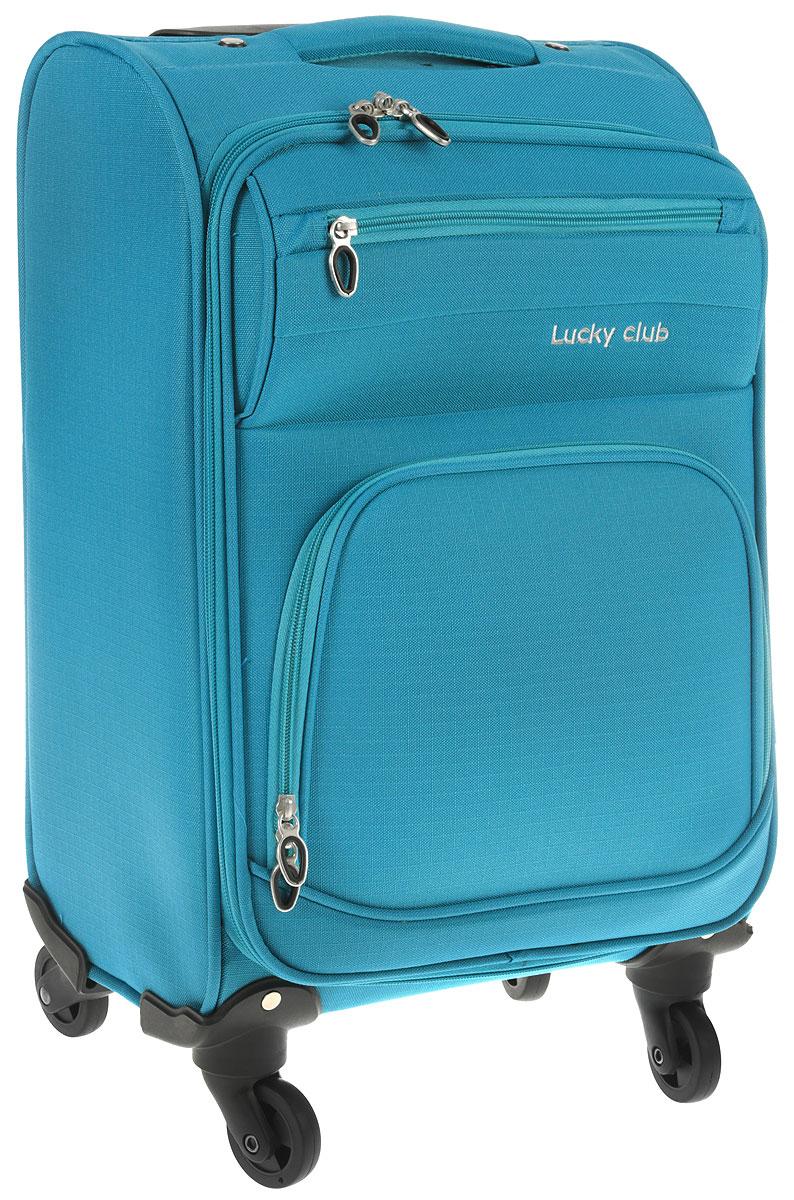 Чемодан Lucky Club, цвет: голубой, 46 см. 17-20117-201 - 46CMЧемодан Lucky Club, выполненный из плотного полиэстера, прекрасно подойдет для путешествий. Материал внутренней отделки - нейлон серого цвета. Чемодан вместителен, он содержит продуманную внутреннюю организацию, которая позволяет удобно разложить вещи. Закрывается на застежку-молнию с двумя бегунками. Внутри содержится одно большое отделение с двумя ремнями, которые застегиваются на пластиковые застежки. Крышка с внутренней стороны имеет плоский сетчатый карман на молнии. С внешней стороны имеется два дополнительных кармана на молниях. Для удобной перевозки чемодан оснащен четырьмя маневренными колесами, которые обеспечивают легкость перемещения в любом направлении. Телескопическая металлическая ручка выдвигается нажатием на кнопку и фиксируется. Сверху предусмотрена ручка для поднятия чемодана. Чемодан Lucky Club идеально подходит для поездок и путешествий. Он вместит все необходимые вещи и станет незаменимым аксессуаром во время поездок. Размер корпуса чемодана (ДхШхВ): 34 x 21 х 46 см. Высота чемодана (с учетом колес и максимально выдвинутой ручки): 103 см. Максимальная высота выдвижной ручки: 54 см. Минимальная высота выдвижной ручки: 43 см. Диаметр колеса: 5 см.