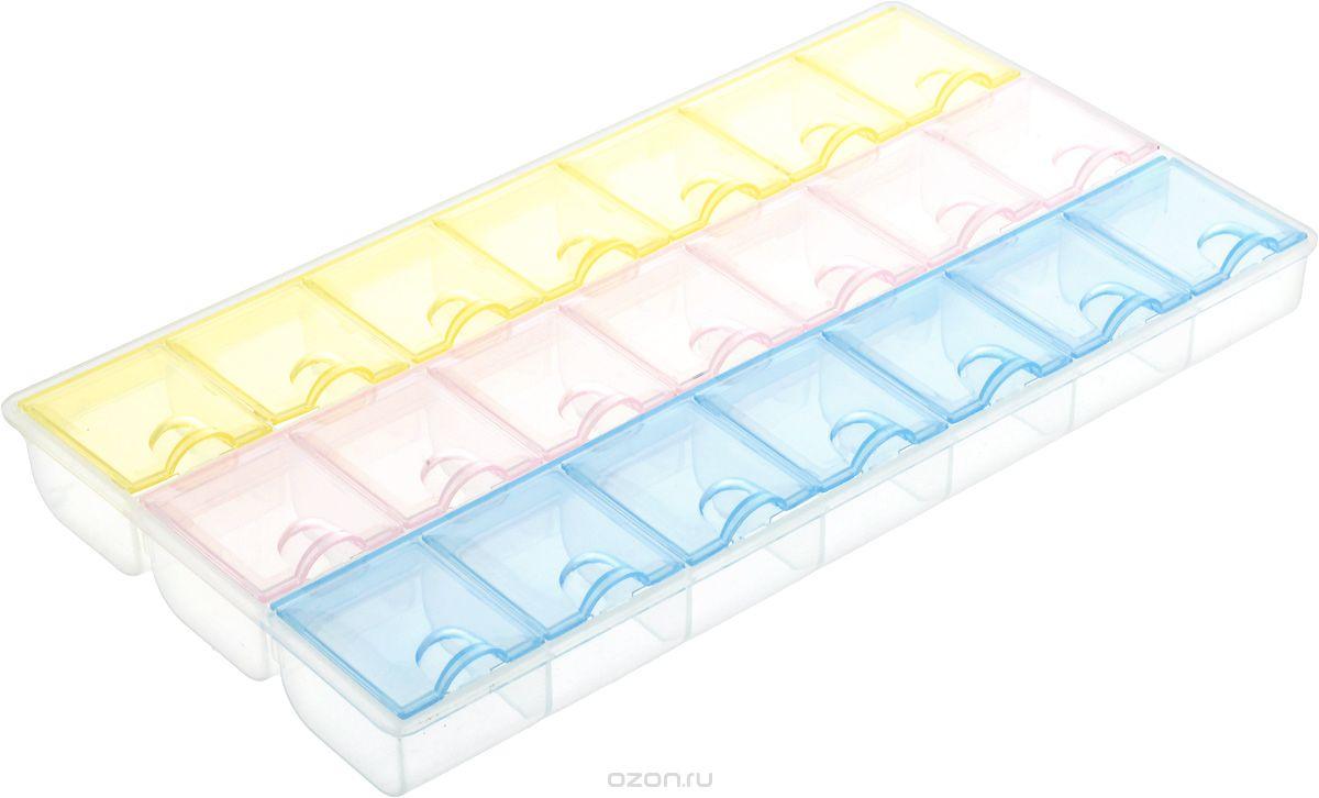 Таблетница Hobby&Pro, 21 секция7704287Таблетница Hobby&Pro выполнена из прозрачного пластика, что позволяет видеть содержимое изделия. Контейнер имеет 21 секцию, каждая из которых плотно закрывается крышкой. Размер контейнера: 21,2 см х 12 см х 2,4 см.Размер секций: 3,5 см х 2,9 см.