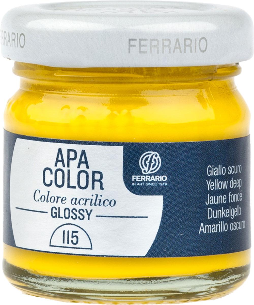 Ferrario Краска акриловая Apa Color цвет желтый темный глянцевыйBA0040В0115Глянцевая акриловая краска Apa Color итальянской компании Ferrario на водной основе, готова к использованию. Основные качества акриловой краски Apa Color: прочность, светостойкость и экологичность. Благодаря акриловой смоле Apa Color пластична и не дает трещин. Именно поэтому краска прекрасно ложится на любые поверхности, будь то стекло, дерево или ткань, что особенно хорошо в дизайне и декоре. Она быстро сохнет, после высыхания становится водостойкой. Акриловая краска Apa Color не потускнеет со временем, ее светостойкость не позволит измениться цвету, он не выгорит на солнце и не пожелтеет. Акриловая краска Apa Color – это отличный выбор в пользу яркой живописи, так как в ее палитре только глубокие и насыщенные цвета. Из-за того, что акриловая краска Apa Color на водной основе, она почти совсем не пахнет, малотоксична – подходит для работы в помещениях, можно заниматься творчеством вместе с детьми. Акриловая краска Apa Color разводится водой, однако это не значит, что для нее нельзя использовать специальные растворители и медиумы, предназначенные для акриловых красок – в этом случае сохраняется высокая пигментированность, но объем краски увеличивается и появляется возможность создания различных фактур и эффектов. Акриловую краску Apa Color легко наносить кистью, шпателем, валиком.