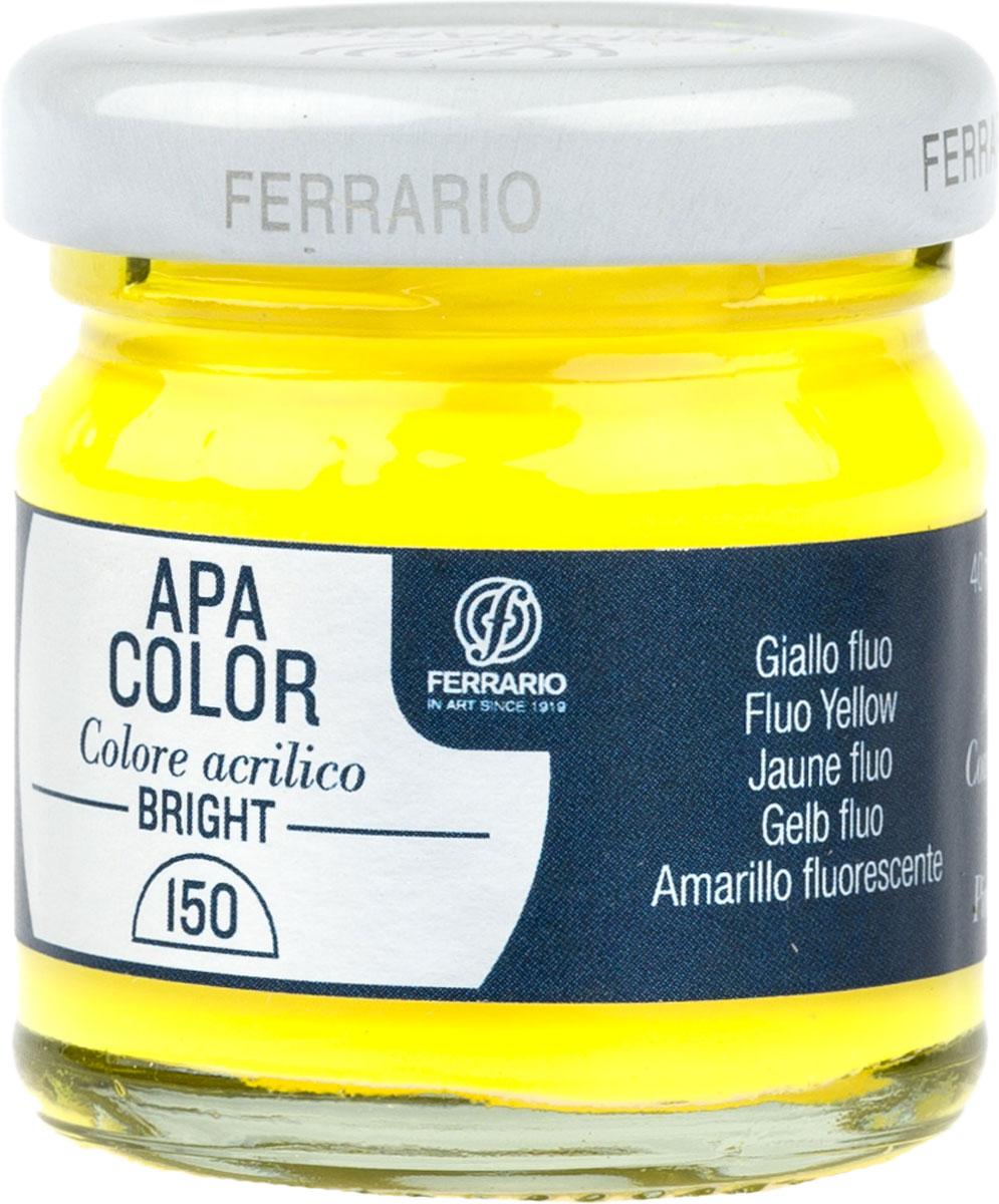 Ferrario Краска акриловая Apa Color цвет желтый флуоресцентныйBA0040С0150Флуоресцентная акриловая краска Apa Color итальянской компании Ferrario на водной основе, готова к использованию. Основные качества акриловой краски Apa Color: прочность, светостойкость и экологичность. Благодаря акриловой смоле Apa Color пластична и не дает трещин. Именно поэтому краска прекрасно ложится на любые поверхности, будь то стекло, дерево или ткань, что особенно хорошо в дизайне и декоре. Она быстро сохнет, после высыхания становится водостойкой. Акриловая краска Apa Color не потускнеет со временем, ее светостойкость не позволит измениться цвету, он не выгорит на солнце и не пожелтеет. Акриловая краска Apa Color – это отличный выбор в пользу яркой живописи, так как в ее палитре только глубокие и насыщенные цвета. Из-за того, что акриловая краска Apa Color на водной основе, она почти совсем не пахнет, малотоксична – подходит для работы в помещениях, можно заниматься творчеством вместе с детьми. Акриловая краска Apa Color разводится водой, однако это не значит, что для нее нельзя использовать специальные растворители и медиумы, предназначенные для акриловых красок – в этом случае сохраняется высокая пигментированность, но объем краски увеличивается и появляется возможность создания различных фактур и эффектов. Акриловую краску Apa Color легко наносить кистью, шпателем, валиком.