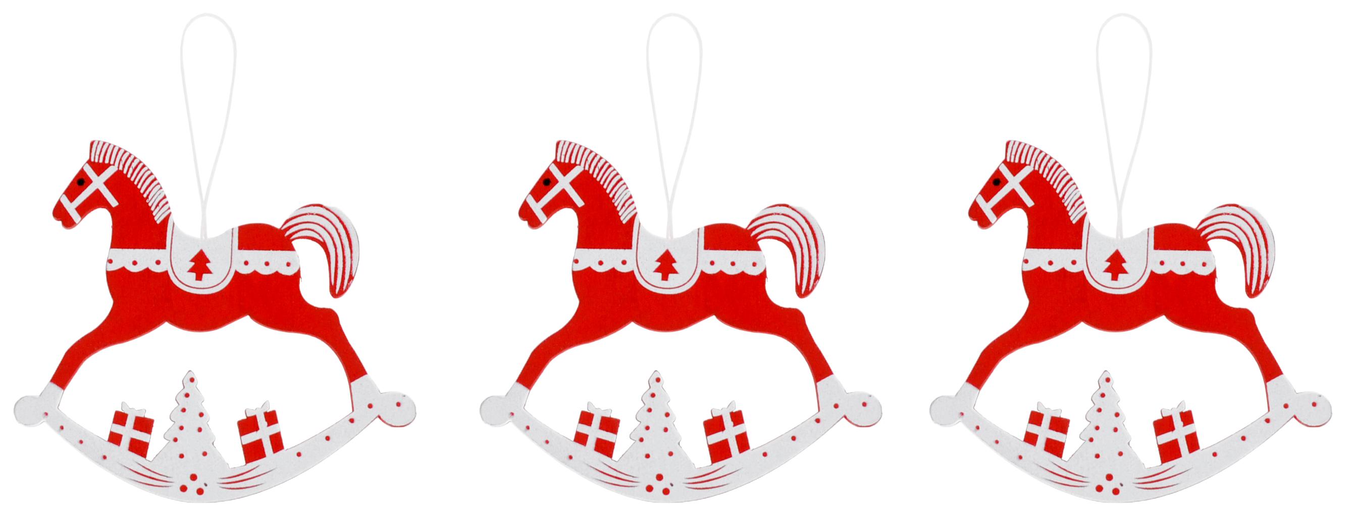 Украшение новогоднее подвесное Лошадки, цвет: красный, белый, 11 х 11 см, 3 шт72829Набор новогодних украшений Лошадки изготовлен из качественного материала (МДФ). Лошадки оформлены Новогодним принтом и дополнены текстильными веревочками. Набор украшений содержит: 3 шт.Размер: 11 x 11 см.