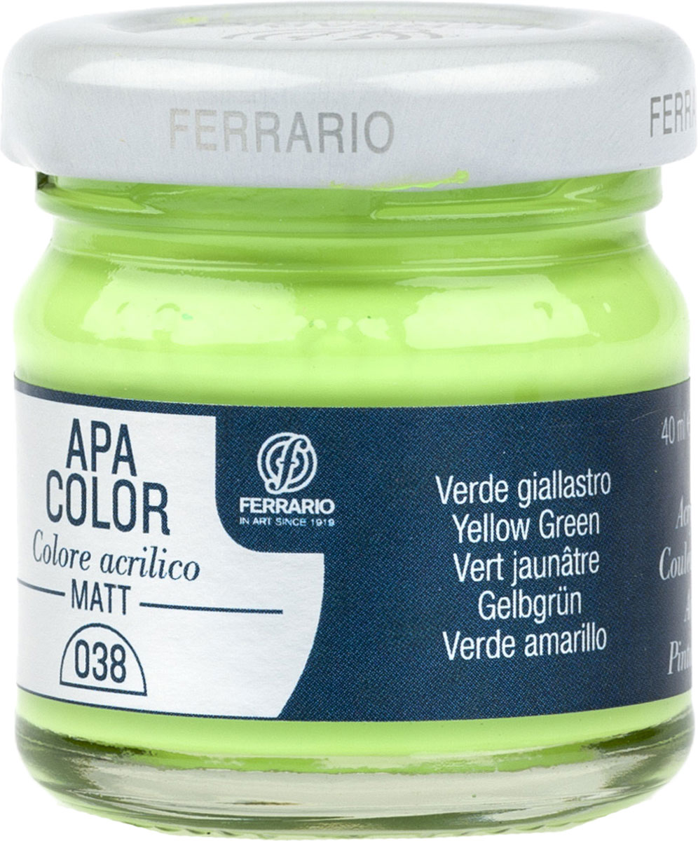 Ferrario Краска акриловая Apa Color цвет зелено желтыйBA0040А0038Матовая акриловая краска Apa Color итальянской компании Ferrario на водной основе, готова к использованию. Основные качества акриловой краски Apa Color: прочность, светостойкость и экологичность. Благодаря акриловой смоле Apa Color пластична и не дает трещин. Именно поэтому краска прекрасно ложится на любые поверхности, будь то стекло, дерево или ткань, что особенно хорошо в дизайне и декоре. Она быстро сохнет, после высыхания становится водостойкой. Акриловая краска Apa Color не потускнеет со временем, ее светостойкость не позволит измениться цвету, он не выгорит на солнце и не пожелтеет. Акриловая краска Apa Color – это отличный выбор в пользу яркой живописи, так как в ее палитре только глубокие и насыщенные цвета. Из-за того, что акриловая краска Apa Color на водной основе, она почти совсем не пахнет, малотоксична – подходит для работы в помещениях, можно заниматься творчеством вместе с детьми. Акриловая краска Apa Color разводится водой, однако это не значит, что для нее нельзя использовать специальные растворители и медиумы, предназначенные для акриловых красок – в этом случае сохраняется высокая пигментированность, но объем краски увеличивается и появляется возможность создания различных фактур и эффектов. Акриловую краску Apa Color легко наносить кистью, шпателем, валиком.