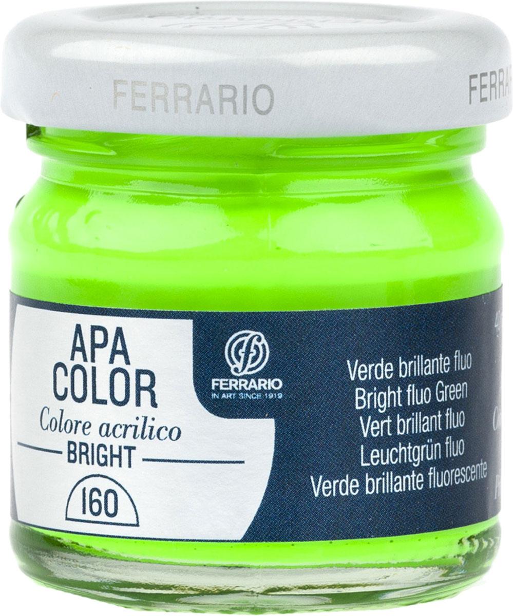 Ferrario Краска акриловая Apa Color цвет зеленый блестящий флуоресцентныйBA0040С0160Флуоресцентная акриловая краска Apa Color итальянской компании Ferrario на водной основе, готова к использованию. Основные качества акриловой краски Apa Color: прочность, светостойкость и экологичность. Благодаря акриловой смоле Apa Color пластична и не дает трещин. Именно поэтому краска прекрасно ложится на любые поверхности, будь то стекло, дерево или ткань, что особенно хорошо в дизайне и декоре. Она быстро сохнет, после высыхания становится водостойкой. Акриловая краска Apa Color не потускнеет со временем, ее светостойкость не позволит измениться цвету, он не выгорит на солнце и не пожелтеет. Акриловая краска Apa Color – это отличный выбор в пользу яркой живописи, так как в ее палитре только глубокие и насыщенные цвета. Из-за того, что акриловая краска Apa Color на водной основе, она почти совсем не пахнет, малотоксична – подходит для работы в помещениях, можно заниматься творчеством вместе с детьми. Акриловая краска Apa Color разводится водой, однако это не значит, что для нее нельзя использовать специальные растворители и медиумы, предназначенные для акриловых красок – в этом случае сохраняется высокая пигментированность, но объем краски увеличивается и появляется возможность создания различных фактур и эффектов. Акриловую краску Apa Color легко наносить кистью, шпателем, валиком.