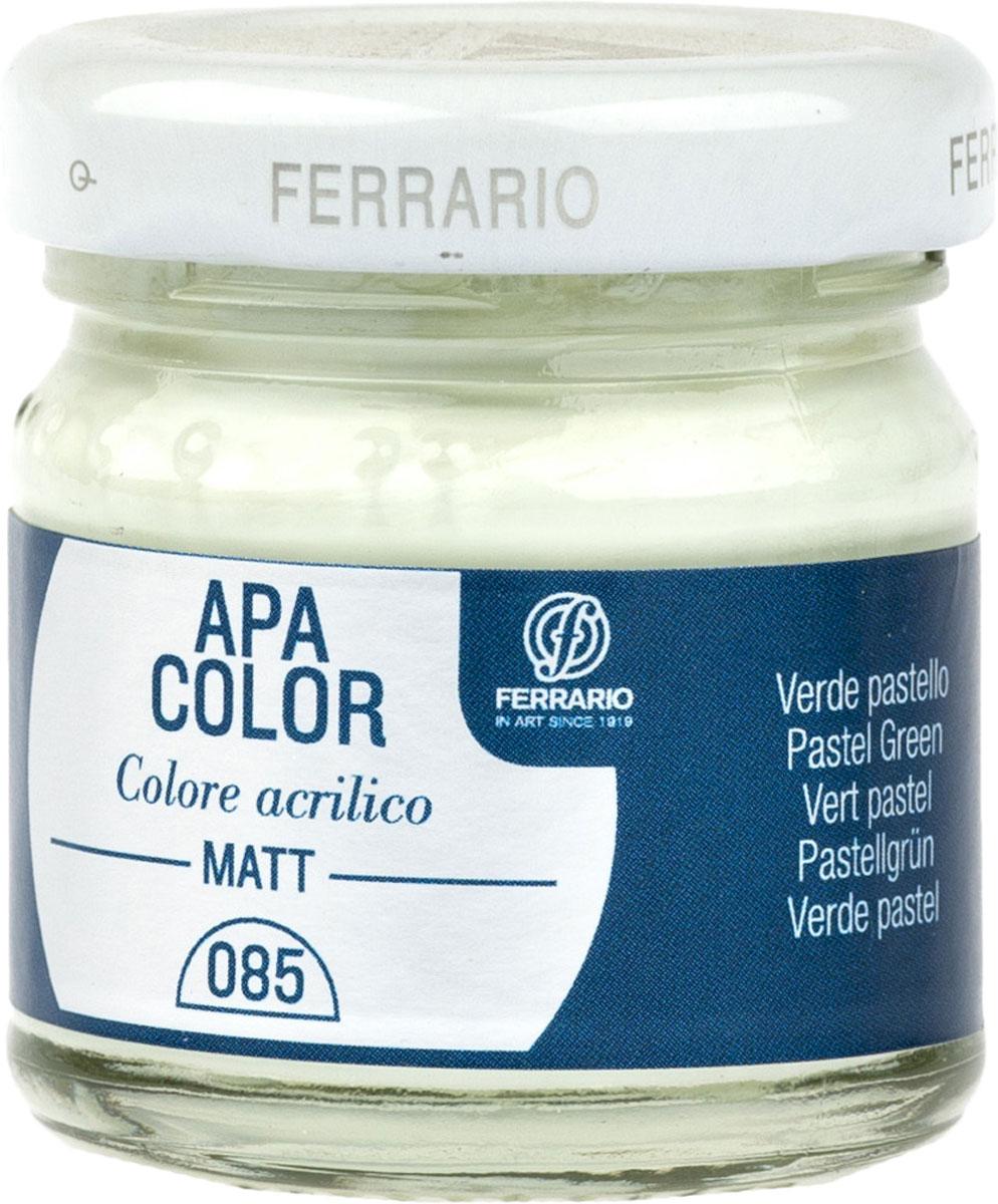 Ferrario Краска акриловая Apa Color цвет зеленый пастельныйBA0040А0085Матовая акриловая краска Apa Color итальянской компании Ferrario на водной основе, готова к использованию. Основные качества акриловой краски Apa Color: прочность, светостойкость и экологичность. Благодаря акриловой смоле Apa Color пластична и не дает трещин. Именно поэтому краска прекрасно ложится на любые поверхности, будь то стекло, дерево или ткань, что особенно хорошо в дизайне и декоре. Она быстро сохнет, после высыхания становится водостойкой. Акриловая краска Apa Color не потускнеет со временем, ее светостойкость не позволит измениться цвету, он не выгорит на солнце и не пожелтеет. Акриловая краска Apa Color – это отличный выбор в пользу яркой живописи, так как в ее палитре только глубокие и насыщенные цвета. Из-за того, что акриловая краска Apa Color на водной основе, она почти совсем не пахнет, малотоксична – подходит для работы в помещениях, можно заниматься творчеством вместе с детьми. Акриловая краска Apa Color разводится водой, однако это не значит, что для нее нельзя использовать специальные растворители и медиумы, предназначенные для акриловых красок – в этом случае сохраняется высокая пигментированность, но объем краски увеличивается и появляется возможность создания различных фактур и эффектов. Акриловую краску Apa Color легко наносить кистью, шпателем, валиком.