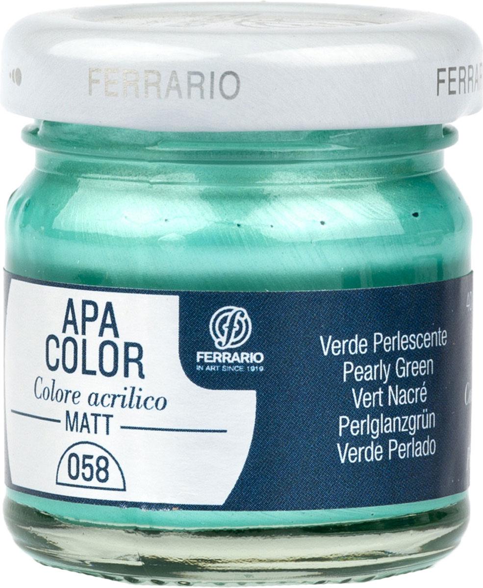Ferrario Краска акриловая Apa Color цвет зеленый перламутровый BA0040А0058BA0040А0058Матовая акриловая краска Apa Color итальянской компании Ferrario на водной основе, готова к использованию. Основные качества акриловой краски Apa Color: прочность, светостойкость и экологичность. Благодаря акриловой смоле Apa Color пластична и не дает трещин. Именно поэтому краска прекрасно ложится на любые поверхности, будь то стекло, дерево или ткань, что особенно хорошо в дизайне и декоре. Она быстро сохнет, после высыхания становится водостойкой. Акриловая краска Apa Color не потускнеет со временем, ее светостойкость не позволит измениться цвету, он не выгорит на солнце и не пожелтеет. Акриловая краска Apa Color – это отличный выбор в пользу яркой живописи, так как в ее палитре только глубокие и насыщенные цвета. Из-за того, что акриловая краска Apa Color на водной основе, она почти совсем не пахнет, малотоксична – подходит для работы в помещениях, можно заниматься творчеством вместе с детьми. Акриловая краска Apa Color разводится водой, однако это не значит, что для нее нельзя использовать специальные растворители и медиумы, предназначенные для акриловых красок – в этом случае сохраняется высокая пигментированность, но объем краски увеличивается и появляется возможность создания различных фактур и эффектов. Акриловую краску Apa Color легко наносить кистью, шпателем, валиком.