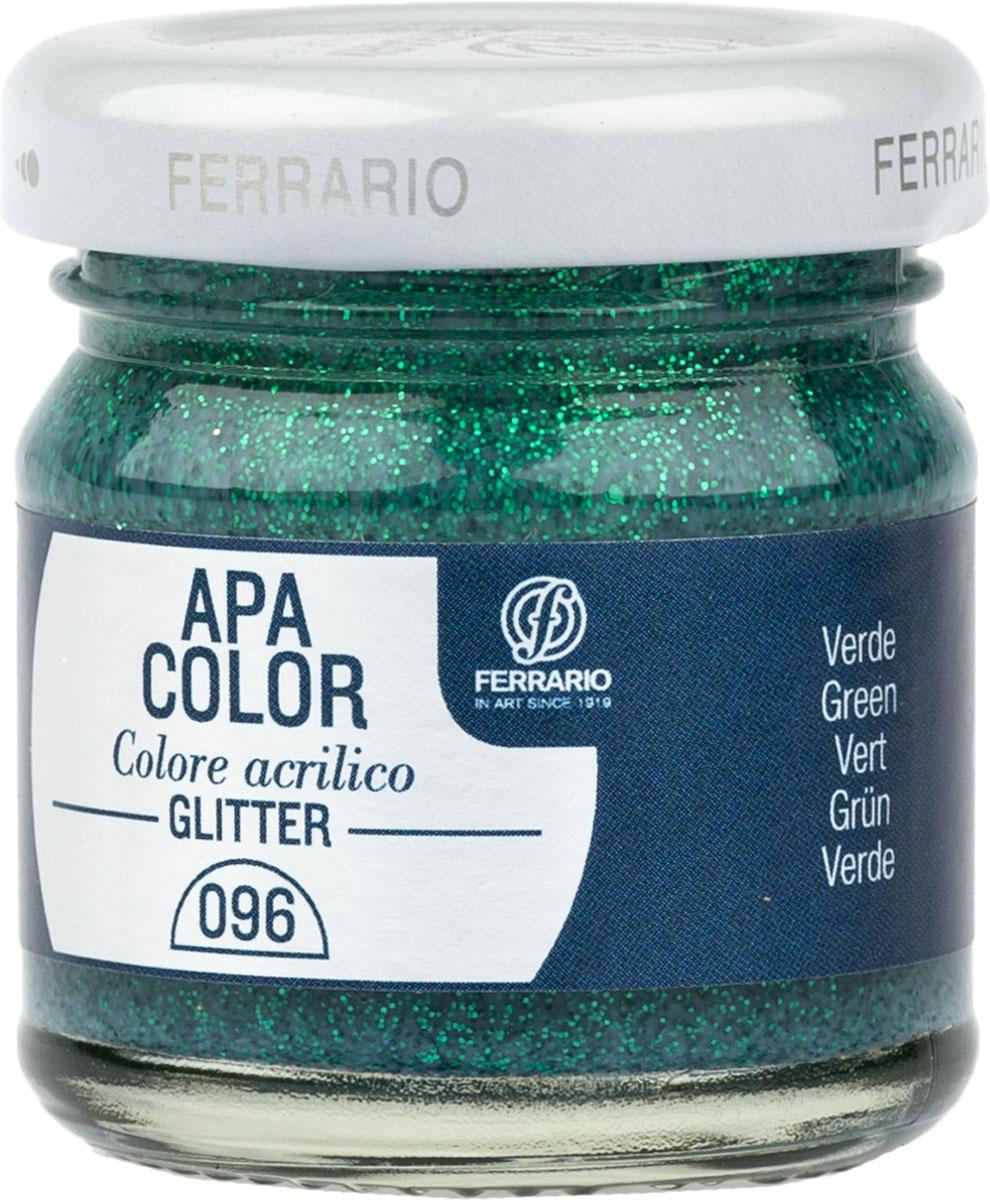 Ferrario Краска акриловая Apa Color цвет зеленый с глиттерамиBA0040В0096Акриловая краска Apa Color с глиттерами итальянской компании Ferrario на водной основе, готова к использованию. Основные качества акриловой краски Apa Color: прочность, светостойкость и экологичность. Благодаря акриловой смоле Apa Color пластична и не дает трещин. Именно поэтому краска прекрасно ложится на любые поверхности, будь то стекло, дерево или ткань, что особенно хорошо в дизайне и декоре. Она быстро сохнет, после высыхания становится водостойкой. Акриловая краска Apa Color не потускнеет со временем, ее светостойкость не позволит измениться цвету, он не выгорит на солнце и не пожелтеет. Акриловая краска Apa Color – это отличный выбор в пользу яркой живописи, так как в ее палитре только глубокие и насыщенные цвета. Из-за того, что акриловая краска Apa Color на водной основе, она почти совсем не пахнет, малотоксична – подходит для работы в помещениях, можно заниматься творчеством вместе с детьми. Акриловая краска Apa Color разводится водой, однако это не значит, что для нее нельзя использовать специальные растворители и медиумы, предназначенные для акриловых красок – в этом случае сохраняется высокая пигментированность, но объем краски увеличивается и появляется возможность создания различных фактур и эффектов. Акриловую краску Apa Color легко наносить кистью, шпателем, валиком.