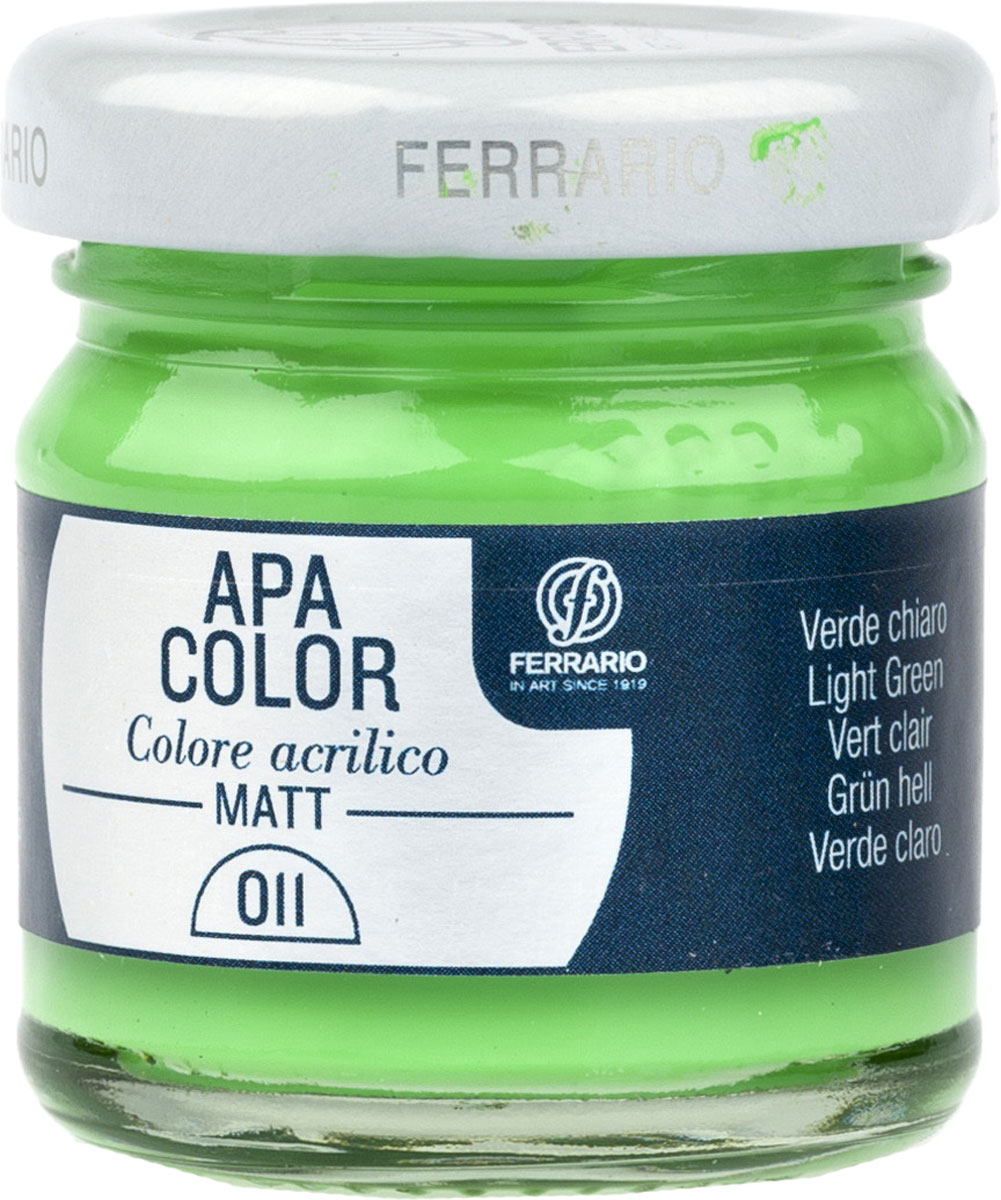Ferrario Краска акриловая Apa Color цвет зеленый светлый BA0040А0011BA0040А0011Матовая акриловая краска Apa Color итальянской компании Ferrario на водной основе, готова к использованию. Основные качества акриловой краски Apa Color: прочность, светостойкость и экологичность. Благодаря акриловой смоле Apa Color пластична и не дает трещин. Именно поэтому краска прекрасно ложится на любые поверхности, будь то стекло, дерево или ткань, что особенно хорошо в дизайне и декоре. Она быстро сохнет, после высыхания становится водостойкой. Акриловая краска Apa Color не потускнеет со временем, ее светостойкость не позволит измениться цвету, он не выгорит на солнце и не пожелтеет. Акриловая краска Apa Color – это отличный выбор в пользу яркой живописи, так как в ее палитре только глубокие и насыщенные цвета. Из-за того, что акриловая краска Apa Color на водной основе, она почти совсем не пахнет, малотоксична – подходит для работы в помещениях, можно заниматься творчеством вместе с детьми. Акриловая краска Apa Color разводится водой, однако это не значит, что для нее нельзя использовать специальные растворители и медиумы, предназначенные для акриловых красок – в этом случае сохраняется высокая пигментированность, но объем краски увеличивается и появляется возможность создания различных фактур и эффектов. Акриловую краску Apa Color легко наносить кистью, шпателем, валиком.