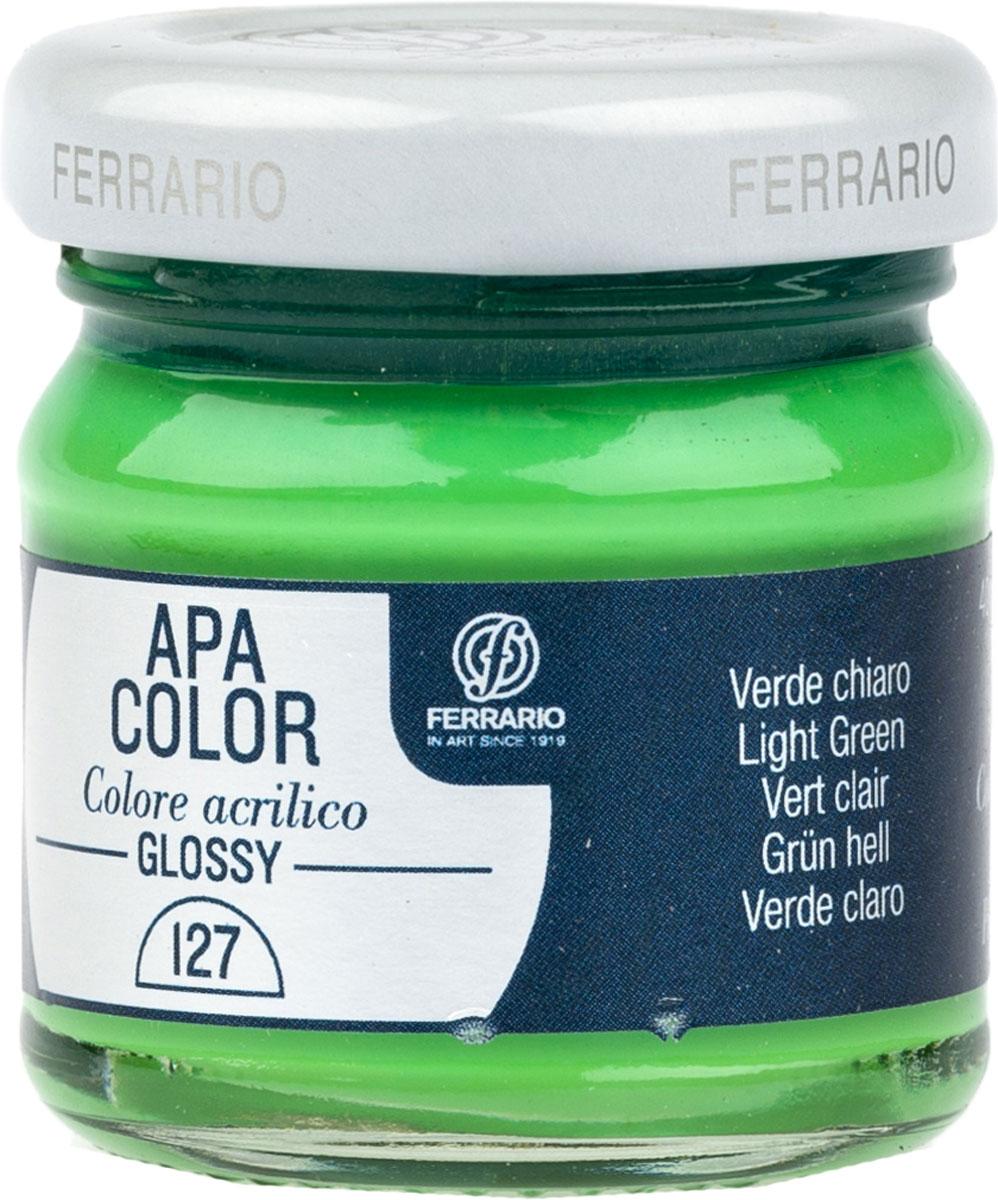 Ferrario Краска акриловая Apa Color цвет Зеленый светлый BA0040В0127BA0040В0127Глянцевая акриловая краска Apa Color итальянской компании Ferrario на водной основе, готова к использованию. Основные качества акриловой краски Apa Color: прочность, светостойкость и экологичность. Благодаря акриловой смоле Apa Color пластична и не дает трещин. Именно поэтому краска прекрасно ложится на любые поверхности, будь то стекло, дерево или ткань, что особенно хорошо в дизайне и декоре. Она быстро сохнет, после высыхания становится водостойкой. Акриловая краска Apa Color не потускнеет со временем, ее светостойкость не позволит измениться цвету, он не выгорит на солнце и не пожелтеет. Акриловая краска Apa Color – это отличный выбор в пользу яркой живописи, так как в ее палитре только глубокие и насыщенные цвета. Из-за того, что акриловая краска Apa Color на водной основе, она почти совсем не пахнет, малотоксична – подходит для работы в помещениях, можно заниматься творчеством вместе с детьми. Акриловая краска Apa Color разводится водой, однако это не значит, что для нее нельзя использовать специальные растворители и медиумы, предназначенные для акриловых красок – в этом случае сохраняется высокая пигментированность, но объем краски увеличивается и появляется возможность создания различных фактур и эффектов. Акриловую краску Apa Color легко наносить кистью, шпателем, валиком.