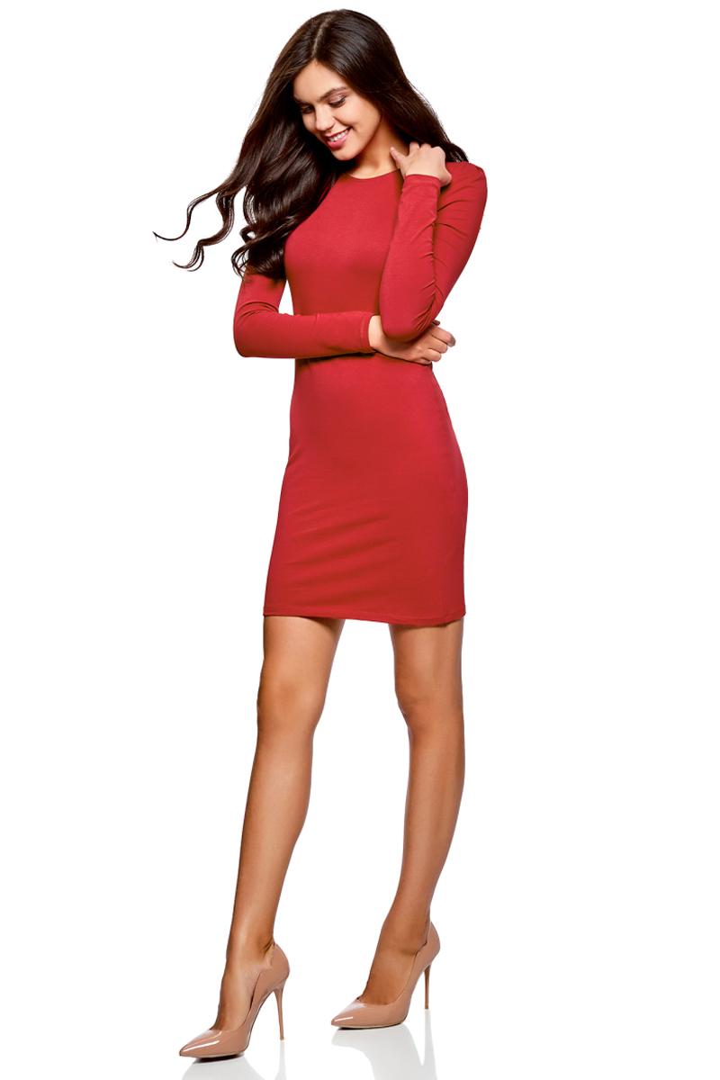 Платье oodji Ultra, цвет: бордовый. 14000171B/46148/4900N. Размер XL (50)14000171B/46148/4900NСтильное мини-платье от oodji выполнено из эластичного хлопкового трикотажа. Модель приталенного кроя с длинными рукавами и круглым вырезом горловины.