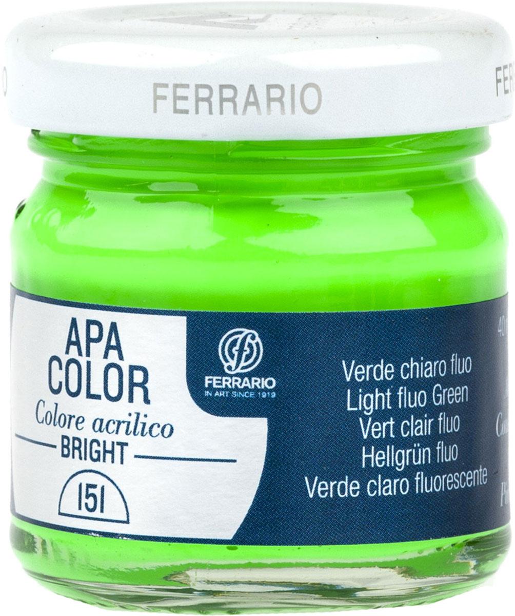 Ferrario Краска акриловая Apa Color цвет зеленый светлый флуоресцентныйBA0040С0151Флуоресцентная акриловая краска Apa Color итальянской компании Ferrario на водной основе, готова к использованию. Основные качества акриловой краски Apa Color: прочность, светостойкость и экологичность. Благодаря акриловой смоле Apa Color пластична и не дает трещин. Именно поэтому краска прекрасно ложится на любые поверхности, будь то стекло, дерево или ткань, что особенно хорошо в дизайне и декоре. Она быстро сохнет, после высыхания становится водостойкой. Акриловая краска Apa Color не потускнеет со временем, ее светостойкость не позволит измениться цвету, он не выгорит на солнце и не пожелтеет. Акриловая краска Apa Color – это отличный выбор в пользу яркой живописи, так как в ее палитре только глубокие и насыщенные цвета. Из-за того, что акриловая краска Apa Color на водной основе, она почти совсем не пахнет, малотоксична – подходит для работы в помещениях, можно заниматься творчеством вместе с детьми. Акриловая краска Apa Color разводится водой, однако это не значит, что для нее нельзя использовать специальные растворители и медиумы, предназначенные для акриловых красок – в этом случае сохраняется высокая пигментированность, но объем краски увеличивается и появляется возможность создания различных фактур и эффектов. Акриловую краску Apa Color легко наносить кистью, шпателем, валиком.