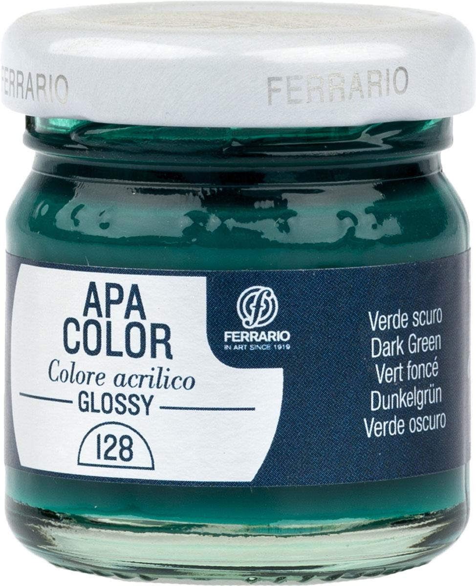 Ferrario Краска акриловая Apa Color цвет Зеленый темный BA0040В0128BA0040В0128Глянцевая акриловая краска Apa Color итальянской компании Ferrario на водной основе, готова к использованию. Основные качества акриловой краски Apa Color: прочность, светостойкость и экологичность. Благодаря акриловой смоле Apa Color пластична и не дает трещин. Именно поэтому краска прекрасно ложится на любые поверхности, будь то стекло, дерево или ткань, что особенно хорошо в дизайне и декоре. Она быстро сохнет, после высыхания становится водостойкой. Акриловая краска Apa Color не потускнеет со временем, ее светостойкость не позволит измениться цвету, он не выгорит на солнце и не пожелтеет. Акриловая краска Apa Color – это отличный выбор в пользу яркой живописи, так как в ее палитре только глубокие и насыщенные цвета. Из-за того, что акриловая краска Apa Color на водной основе, она почти совсем не пахнет, малотоксична – подходит для работы в помещениях, можно заниматься творчеством вместе с детьми. Акриловая краска Apa Color разводится водой, однако это не значит, что для нее нельзя использовать специальные растворители и медиумы, предназначенные для акриловых красок – в этом случае сохраняется высокая пигментированность, но объем краски увеличивается и появляется возможность создания различных фактур и эффектов. Акриловую краску Apa Color легко наносить кистью, шпателем, валиком.