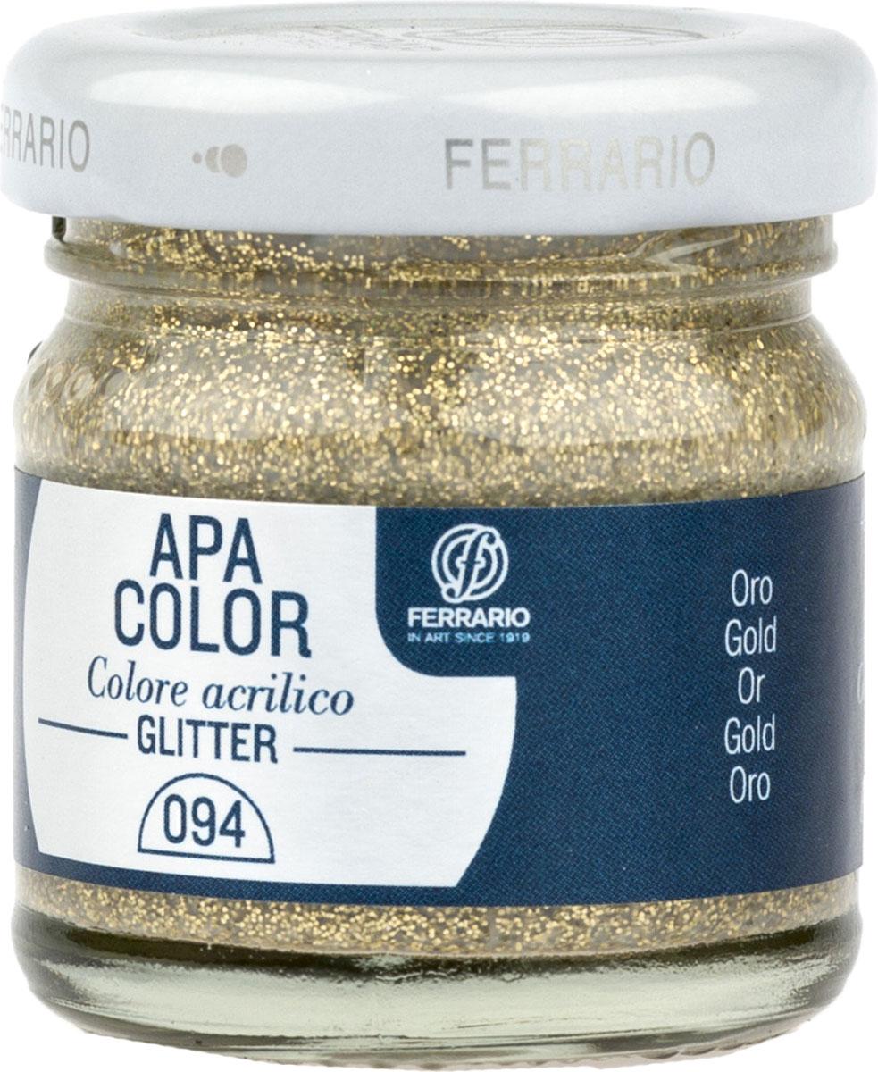 Ferrario Краска акриловая Apa Color цвет золото с глиттерамиBA0040В0094Акриловая краска Apa Color с глиттерами итальянской компании Ferrario на водной основе, готова к использованию. Основные качества акриловой краски Apa Color: прочность, светостойкость и экологичность. Благодаря акриловой смоле Apa Color пластична и не дает трещин. Именно поэтому краска прекрасно ложится на любые поверхности, будь то стекло, дерево или ткань, что особенно хорошо в дизайне и декоре. Она быстро сохнет, после высыхания становится водостойкой. Акриловая краска Apa Color не потускнеет со временем, ее светостойкость не позволит измениться цвету, он не выгорит на солнце и не пожелтеет. Акриловая краска Apa Color – это отличный выбор в пользу яркой живописи, так как в ее палитре только глубокие и насыщенные цвета. Из-за того, что акриловая краска Apa Color на водной основе, она почти совсем не пахнет, малотоксична – подходит для работы в помещениях, можно заниматься творчеством вместе с детьми. Акриловая краска Apa Color разводится водой, однако это не значит, что для нее нельзя использовать специальные растворители и медиумы, предназначенные для акриловых красок – в этом случае сохраняется высокая пигментированность, но объем краски увеличивается и появляется возможность создания различных фактур и эффектов. Акриловую краску Apa Color легко наносить кистью, шпателем, валиком.