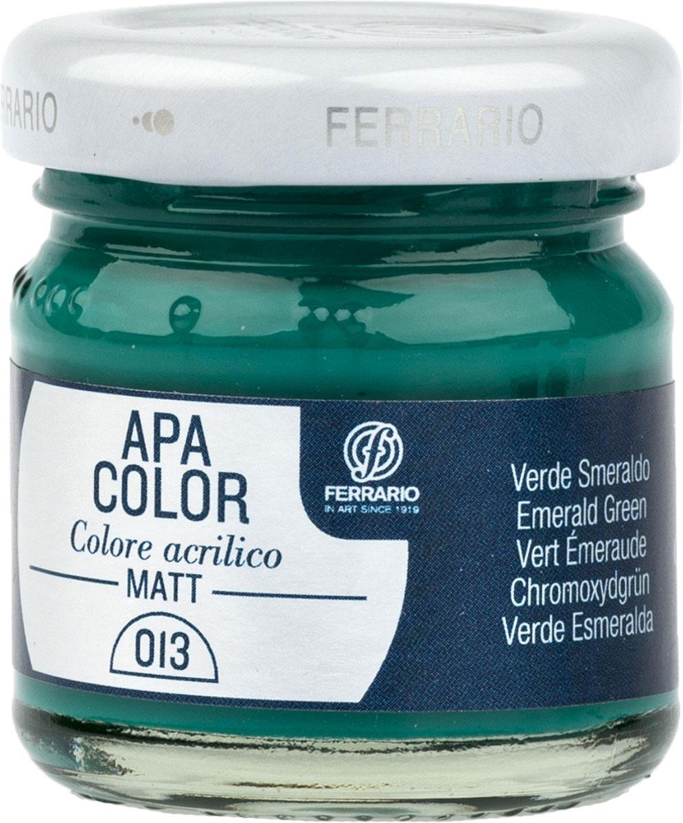 Ferrario Краска акриловая Apa Color цвет изумрудно-зеленыйBA0040А0013Матовая акриловая краска Apa Color итальянской компании Ferrario на водной основе, готова к использованию. Основные качества акриловой краски Apa Color: прочность, светостойкость и экологичность. Благодаря акриловой смоле Apa Color пластична и не дает трещин. Именно поэтому краска прекрасно ложится на любые поверхности, будь то стекло, дерево или ткань, что особенно хорошо в дизайне и декоре. Она быстро сохнет, после высыхания становится водостойкой. Акриловая краска Apa Color не потускнеет со временем, ее светостойкость не позволит измениться цвету, он не выгорит на солнце и не пожелтеет. Акриловая краска Apa Color – это отличный выбор в пользу яркой живописи, так как в ее палитре только глубокие и насыщенные цвета. Из-за того, что акриловая краска Apa Color на водной основе, она почти совсем не пахнет, малотоксична – подходит для работы в помещениях, можно заниматься творчеством вместе с детьми. Акриловая краска Apa Color разводится водой, однако это не значит, что для нее нельзя использовать специальные растворители и медиумы, предназначенные для акриловых красок – в этом случае сохраняется высокая пигментированность, но объем краски увеличивается и появляется возможность создания различных фактур и эффектов. Акриловую краску Apa Color легко наносить кистью, шпателем, валиком.