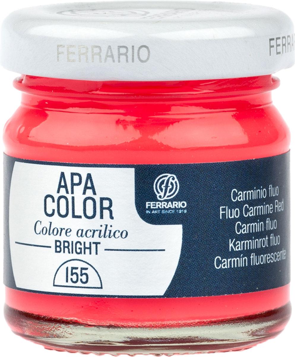 Ferrario Краска акриловая Apa Color цвет кармин флуоресцентный 40 млBA0040С0155Флуоресцентная акриловая краска Apa Color итальянской компании Ferrario на водной основе, готова к использованию. Основные качества акриловой краски Apa Color: прочность, светостойкость и экологичность. Благодаря акриловой смоле Apa Color пластична и не дает трещин. Именно поэтому краска прекрасно ложится на любые поверхности, будь то стекло, дерево или ткань, что особенно хорошо в дизайне и декоре. Она быстро сохнет, после высыхания становится водостойкой. Акриловая краска Apa Color не потускнеет со временем, ее светостойкость не позволит измениться цвету, он не выгорит на солнце и не пожелтеет. Акриловая краска Apa Color – это отличный выбор в пользу яркой живописи, так как в ее палитре только глубокие и насыщенные цвета. Из-за того, что акриловая краска Apa Color на водной основе, она почти совсем не пахнет, малотоксична – подходит для работы в помещениях, можно заниматься творчеством вместе с детьми. Акриловая краска Apa Color разводится водой, однако это не значит, что для нее нельзя использовать специальные растворители и медиумы, предназначенные для акриловых красок – в этом случае сохраняется высокая пигментированность, но объем краски увеличивается и появляется возможность создания различных фактур и эффектов. Акриловую краску Apa Color легко наносить кистью, шпателем, валиком.