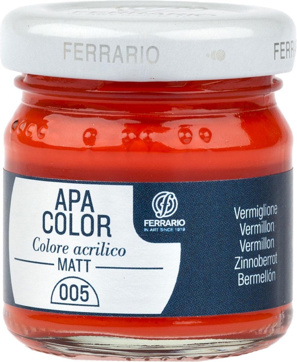 Ferrario Краска акриловая Apa Color цвет киноварьBA0040А0005Матовая акриловая краска Apa Color итальянской компании Ferrario на водной основе, готова к использованию. Основные качества акриловой краски Apa Color: прочность, светостойкость и экологичность. Благодаря акриловой смоле Apa Color пластична и не дает трещин. Именно поэтому краска прекрасно ложится на любые поверхности, будь то стекло, дерево или ткань, что особенно хорошо в дизайне и декоре. Она быстро сохнет, после высыхания становится водостойкой. Акриловая краска Apa Color не потускнеет со временем, ее светостойкость не позволит измениться цвету, он не выгорит на солнце и не пожелтеет. Акриловая краска Apa Color – это отличный выбор в пользу яркой живописи, так как в ее палитре только глубокие и насыщенные цвета. Из-за того, что акриловая краска Apa Color на водной основе, она почти совсем не пахнет, малотоксична – подходит для работы в помещениях, можно заниматься творчеством вместе с детьми. Акриловая краска Apa Color разводится водой, однако это не значит, что для нее нельзя использовать специальные растворители и медиумы, предназначенные для акриловых красок – в этом случае сохраняется высокая пигментированность, но объем краски увеличивается и появляется возможность создания различных фактур и эффектов. Акриловую краску Apa Color легко наносить кистью, шпателем, валиком.