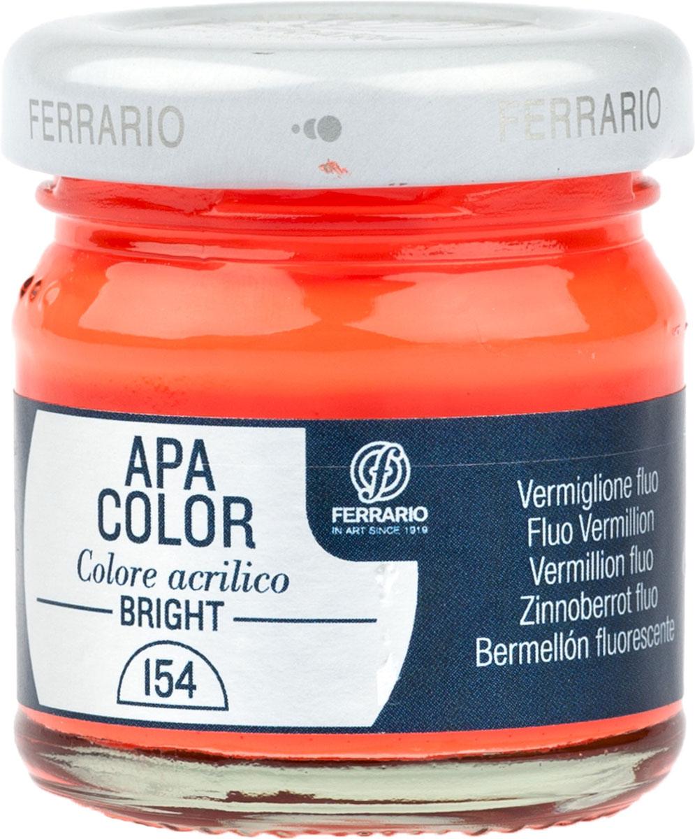 Ferrario Краска акриловая Apa Color цвет киноварь флуоресцентный 40 млBA0040С0154Флуоресцентная акриловая краска Apa Color итальянской компании Ferrario на водной основе, готова к использованию. Основные качества акриловой краски Apa Color: прочность, светостойкость и экологичность. Благодаря акриловой смоле Apa Color пластична и не дает трещин. Именно поэтому краска прекрасно ложится на любые поверхности, будь то стекло, дерево или ткань, что особенно хорошо в дизайне и декоре. Она быстро сохнет, после высыхания становится водостойкой. Акриловая краска Apa Color не потускнеет со временем, ее светостойкость не позволит измениться цвету, он не выгорит на солнце и не пожелтеет. Акриловая краска Apa Color – это отличный выбор в пользу яркой живописи, так как в ее палитре только глубокие и насыщенные цвета. Из-за того, что акриловая краска Apa Color на водной основе, она почти совсем не пахнет, малотоксична – подходит для работы в помещениях, можно заниматься творчеством вместе с детьми. Акриловая краска Apa Color разводится водой, однако это не значит, что для нее нельзя использовать специальные растворители и медиумы, предназначенные для акриловых красок – в этом случае сохраняется высокая пигментированность, но объем краски увеличивается и появляется возможность создания различных фактур и эффектов. Акриловую краску Apa Color легко наносить кистью, шпателем, валиком.