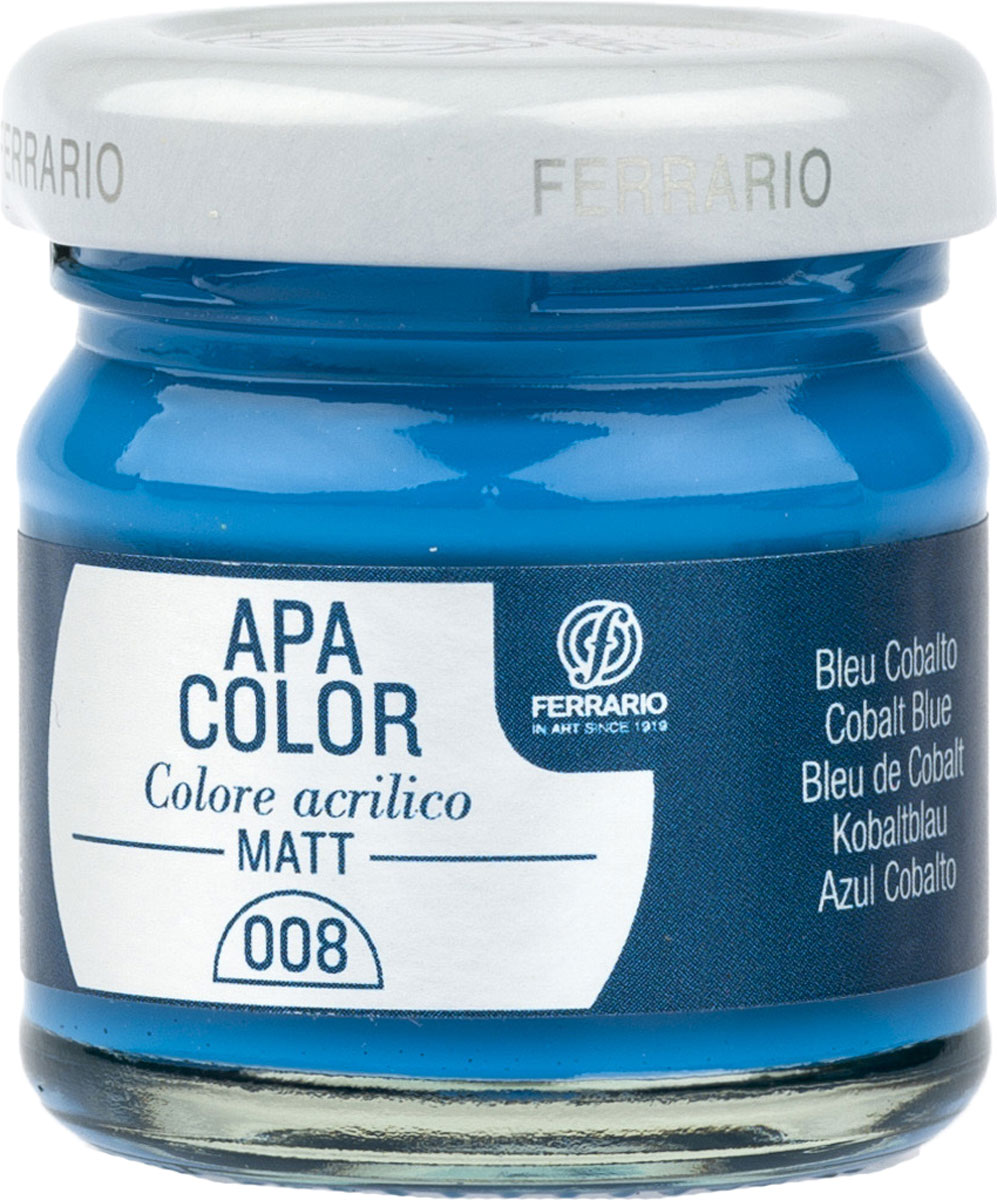 Ferrario Краска акриловая Apa Color цвет кобальт синий BA0040А0008BA0040А0008Матовая акриловая краска Apa Color итальянской компании Ferrario на водной основе, готова к использованию. Основные качества акриловой краски Apa Color: прочность, светостойкость и экологичность. Благодаря акриловой смоле Apa Color пластична и не дает трещин. Именно поэтому краска прекрасно ложится на любые поверхности, будь то стекло, дерево или ткань, что особенно хорошо в дизайне и декоре. Она быстро сохнет, после высыхания становится водостойкой. Акриловая краска Apa Color не потускнеет со временем, ее светостойкость не позволит измениться цвету, он не выгорит на солнце и не пожелтеет. Акриловая краска Apa Color – это отличный выбор в пользу яркой живописи, так как в ее палитре только глубокие и насыщенные цвета. Из-за того, что акриловая краска Apa Color на водной основе, она почти совсем не пахнет, малотоксична – подходит для работы в помещениях, можно заниматься творчеством вместе с детьми. Акриловая краска Apa Color разводится водой, однако это не значит, что для нее нельзя использовать специальные растворители и медиумы, предназначенные для акриловых красок – в этом случае сохраняется высокая пигментированность, но объем краски увеличивается и появляется возможность создания различных фактур и эффектов. Акриловую краску Apa Color легко наносить кистью, шпателем, валиком.