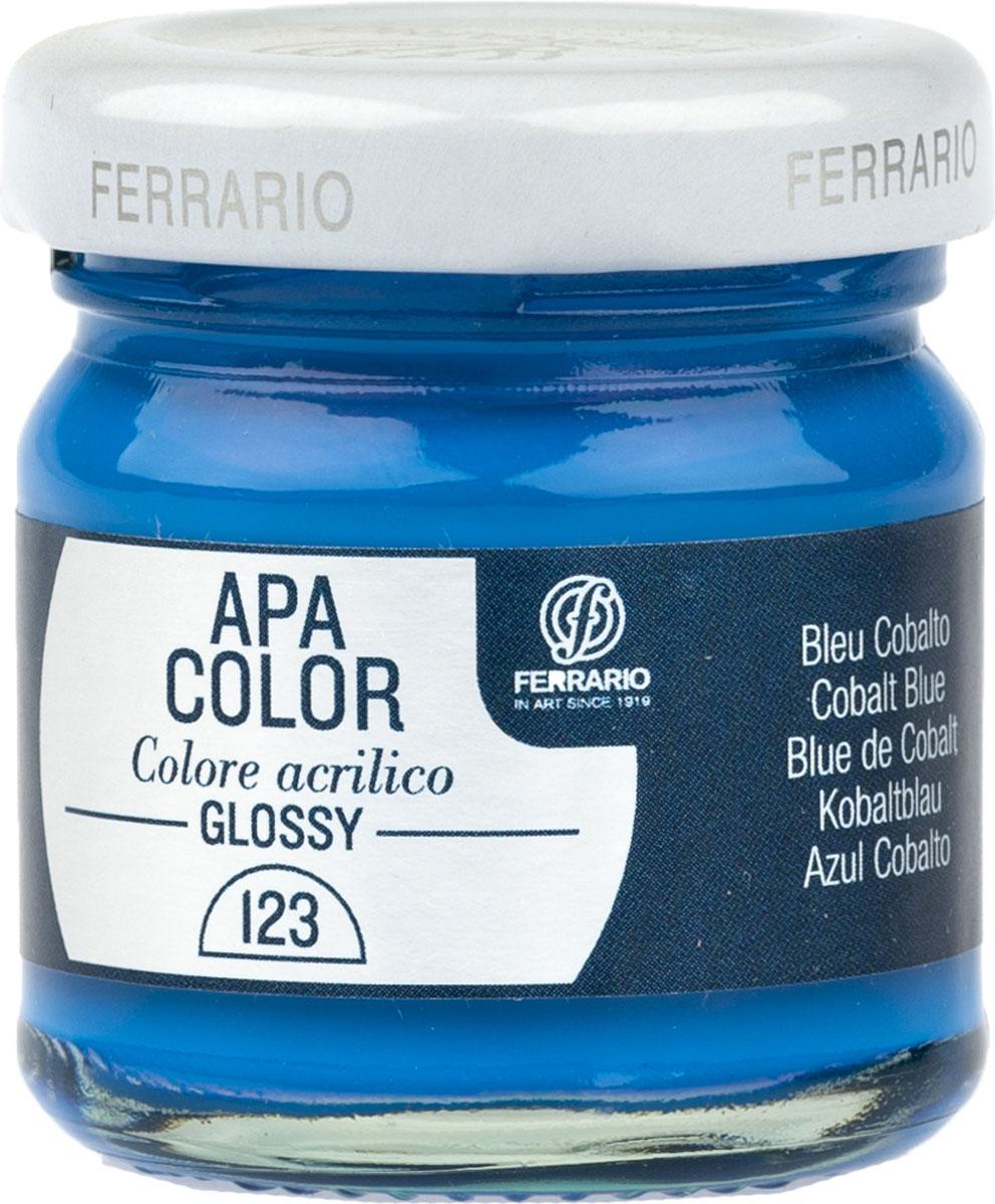 Ferrario Краска акриловая Apa Color цвет кобальт синий глянцевый 40 мл BA0040В0123BA0040В0123Глянцевая акриловая краска Apa Color итальянской компании Ferrario на водной основе, готова к использованию. Основные качества акриловой краски Apa Color: прочность, светостойкость и экологичность. Благодаря акриловой смоле Apa Color пластична и не дает трещин. Именно поэтому краска прекрасно ложится на любые поверхности, будь то стекло, дерево или ткань, что особенно хорошо в дизайне и декоре. Она быстро сохнет, после высыхания становится водостойкой. Акриловая краска Apa Color не потускнеет со временем, ее светостойкость не позволит измениться цвету, он не выгорит на солнце и не пожелтеет. Акриловая краска Apa Color – это отличный выбор в пользу яркой живописи, так как в ее палитре только глубокие и насыщенные цвета. Из-за того, что акриловая краска Apa Color на водной основе, она почти совсем не пахнет, малотоксична – подходит для работы в помещениях, можно заниматься творчеством вместе с детьми. Акриловая краска Apa Color разводится водой, однако это не значит, что для нее нельзя использовать специальные растворители и медиумы, предназначенные для акриловых красок – в этом случае сохраняется высокая пигментированность, но объем краски увеличивается и появляется возможность создания различных фактур и эффектов. Акриловую краску Apa Color легко наносить кистью, шпателем, валиком.