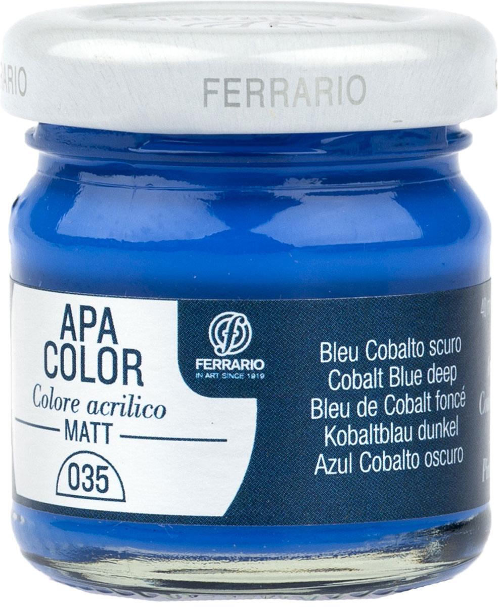 Ferrario Краска акриловая Apa Color цвет кобальт синий темный 40 мл BA0040А0035BA0040А0035Матовая акриловая краска Apa Color итальянской компании Ferrario на водной основе, готова к использованию. Основные качества акриловой краски Apa Color: прочность, светостойкость и экологичность. Благодаря акриловой смоле Apa Color пластична и не дает трещин. Именно поэтому краска прекрасно ложится на любые поверхности, будь то стекло, дерево или ткань, что особенно хорошо в дизайне и декоре. Она быстро сохнет, после высыхания становится водостойкой. Акриловая краска Apa Color не потускнеет со временем, ее светостойкость не позволит измениться цвету, он не выгорит на солнце и не пожелтеет. Акриловая краска Apa Color – это отличный выбор в пользу яркой живописи, так как в ее палитре только глубокие и насыщенные цвета. Из-за того, что акриловая краска Apa Color на водной основе, она почти совсем не пахнет, малотоксична – подходит для работы в помещениях, можно заниматься творчеством вместе с детьми. Акриловая краска Apa Color разводится водой, однако это не значит, что для нее нельзя использовать специальные растворители и медиумы, предназначенные для акриловых красок – в этом случае сохраняется высокая пигментированность, но объем краски увеличивается и появляется возможность создания различных фактур и эффектов. Акриловую краску Apa Color легко наносить кистью, шпателем, валиком.