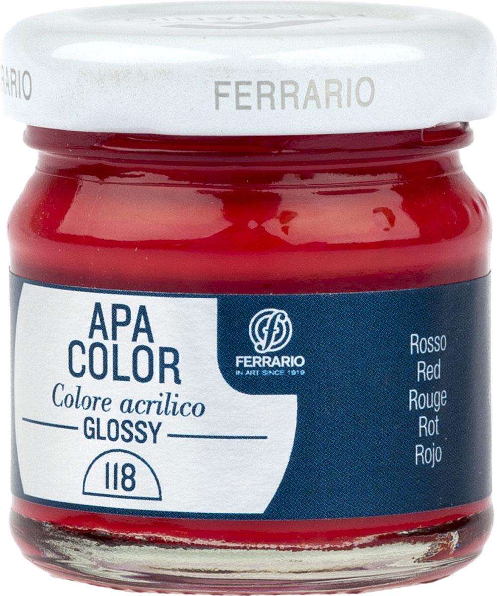 Ferrario Краска акриловая Apa Color цвет красный глянцевый 40 мл BA0040В0118BA0040В0118Глянцевая акриловая краска Apa Color итальянской компании Ferrario на водной основе, готова к использованию. Основные качества акриловой краски Apa Color: прочность, светостойкость и экологичность. Благодаря акриловой смоле Apa Color пластична и не дает трещин. Именно поэтому краска прекрасно ложится на любые поверхности, будь то стекло, дерево или ткань, что особенно хорошо в дизайне и декоре. Она быстро сохнет, после высыхания становится водостойкой. Акриловая краска Apa Color не потускнеет со временем, ее светостойкость не позволит измениться цвету, он не выгорит на солнце и не пожелтеет. Акриловая краска Apa Color – это отличный выбор в пользу яркой живописи, так как в ее палитре только глубокие и насыщенные цвета. Из-за того, что акриловая краска Apa Color на водной основе, она почти совсем не пахнет, малотоксична – подходит для работы в помещениях, можно заниматься творчеством вместе с детьми. Акриловая краска Apa Color разводится водой, однако это не значит, что для нее нельзя использовать специальные растворители и медиумы, предназначенные для акриловых красок – в этом случае сохраняется высокая пигментированность, но объем краски увеличивается и появляется возможность создания различных фактур и эффектов. Акриловую краску Apa Color легко наносить кистью, шпателем, валиком.