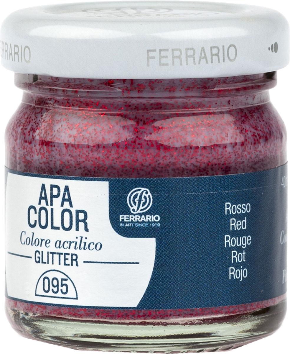 Ferrario Краска акриловая Apa Color цвет красный с глиттерами 40 млBA0040В0095Акриловая краска Apa Color с глиттерами итальянской компании Ferrario на водной основе, готова к использованию. Основные качества акриловой краски Apa Color: прочность, светостойкость и экологичность. Благодаря акриловой смоле Apa Color пластична и не дает трещин. Именно поэтому краска прекрасно ложится на любые поверхности, будь то стекло, дерево или ткань, что особенно хорошо в дизайне и декоре. Она быстро сохнет, после высыхания становится водостойкой. Акриловая краска Apa Color не потускнеет со временем, ее светостойкость не позволит измениться цвету, он не выгорит на солнце и не пожелтеет. Акриловая краска Apa Color – это отличный выбор в пользу яркой живописи, так как в ее палитре только глубокие и насыщенные цвета. Из-за того, что акриловая краска Apa Color на водной основе, она почти совсем не пахнет, малотоксична – подходит для работы в помещениях, можно заниматься творчеством вместе с детьми. Акриловая краска Apa Color разводится водой, однако это не значит, что для нее нельзя использовать специальные растворители и медиумы, предназначенные для акриловых красок – в этом случае сохраняется высокая пигментированность, но объем краски увеличивается и появляется возможность создания различных фактур и эффектов. Акриловую краску Apa Color легко наносить кистью, шпателем, валиком.