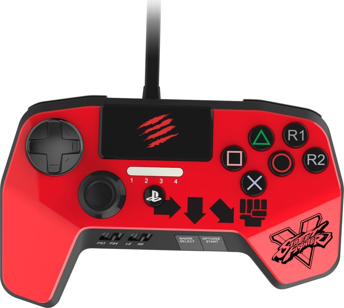 Mad Catz Street Fighter V FightPad Pro-Ken, Red аркадный геймпад для PS4 (SFV89250BSA3/04/1)