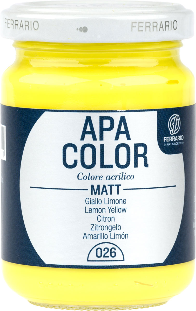 Ferrario Краска акриловая Apa Color цвет лимонно-желтый 150 млBA0095AO026Матовая акриловая краска Apa Color итальянской компании Ferrario на водной основе, готова к использованию. Основные качества акриловой краски Apa Color: прочность, светостойкость и экологичность. Благодаря акриловой смоле Apa Color пластична и не дает трещин. Именно поэтому краска прекрасно ложится на любые поверхности, будь то стекло, дерево или ткань, что особенно хорошо в дизайне и декоре. Она быстро сохнет, после высыхания становится водостойкой. Акриловая краска Apa Color не потускнеет со временем, ее светостойкость не позволит измениться цвету, он не выгорит на солнце и не пожелтеет. Акриловая краска Apa Color – это отличный выбор в пользу яркой живописи, так как в ее палитре только глубокие и насыщенные цвета. Из-за того, что акриловая краска Apa Color на водной основе, она почти совсем не пахнет, малотоксична – подходит для работы в помещениях, можно заниматься творчеством вместе с детьми. Акриловая краска Apa Color разводится водой, однако это не значит, что для нее нельзя использовать специальные растворители и медиумы, предназначенные для акриловых красок – в этом случае сохраняется высокая пигментированность, но объем краски увеличивается и появляется возможность создания различных фактур и эффектов. Акриловую краску Apa Color легко наносить кистью, шпателем, валиком.
