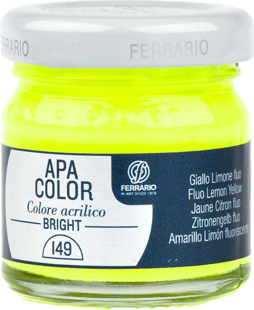 Ferrario Краска акриловая Apa Color цвет лимонный флуоресцентный 40 млBA0040С0149Флуоресцентная акриловая краска Apa Color итальянской компании Ferrario на водной основе, готова к использованию. Основные качества акриловой краски Apa Color: прочность, светостойкость и экологичность. Благодаря акриловой смоле Apa Color пластична и не дает трещин. Именно поэтому краска прекрасно ложится на любые поверхности, будь то стекло, дерево или ткань, что особенно хорошо в дизайне и декоре. Она быстро сохнет, после высыхания становится водостойкой. Акриловая краска Apa Color не потускнеет со временем, ее светостойкость не позволит измениться цвету, он не выгорит на солнце и не пожелтеет. Акриловая краска Apa Color – это отличный выбор в пользу яркой живописи, так как в ее палитре только глубокие и насыщенные цвета. Из-за того, что акриловая краска Apa Color на водной основе, она почти совсем не пахнет, малотоксична – подходит для работы в помещениях, можно заниматься творчеством вместе с детьми. Акриловая краска Apa Color разводится водой, однако это не значит, что для нее нельзя использовать специальные растворители и медиумы, предназначенные для акриловых красок – в этом случае сохраняется высокая пигментированность, но объем краски увеличивается и появляется возможность создания различных фактур и эффектов. Акриловую краску Apa Color легко наносить кистью, шпателем, валиком.