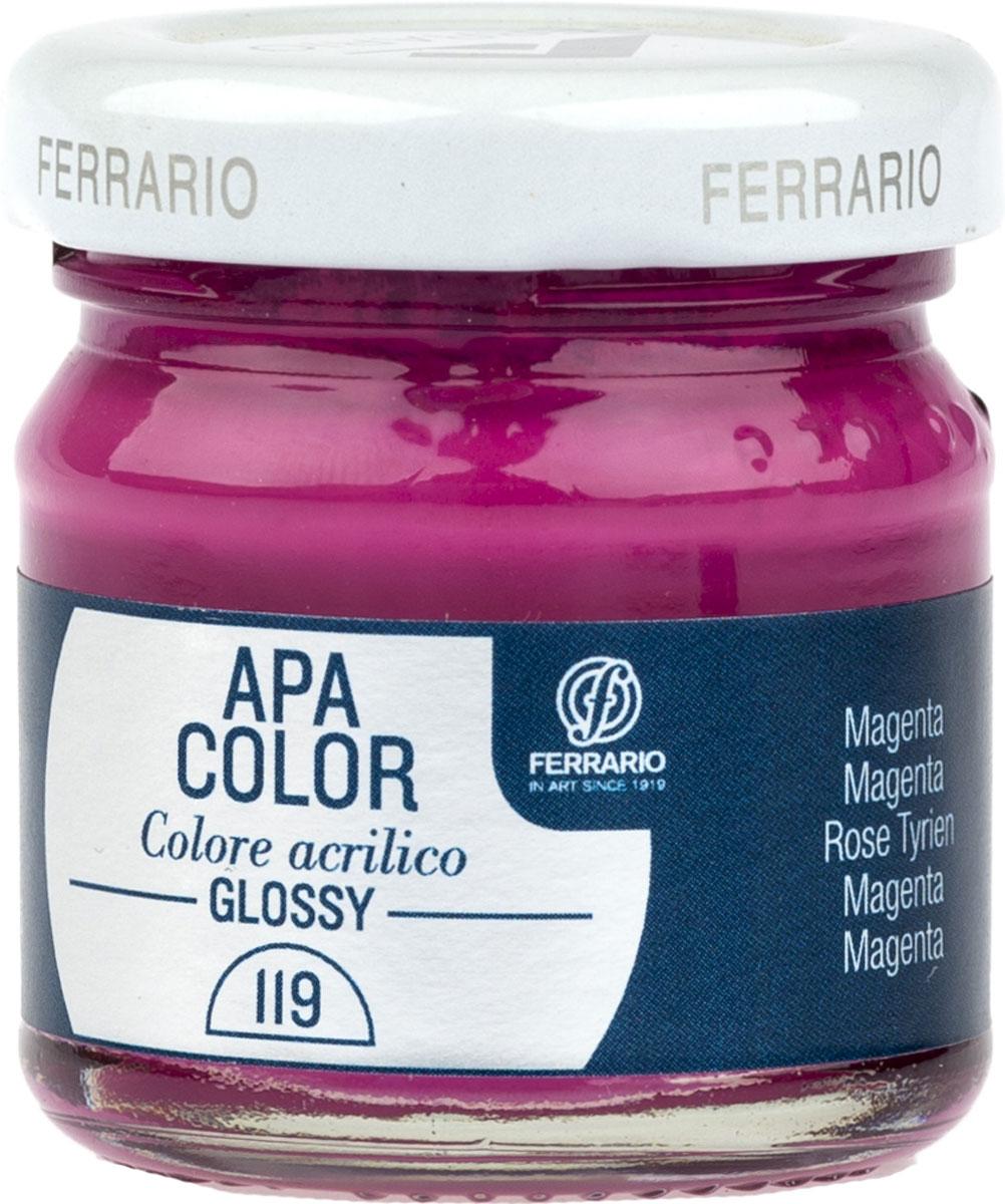 Ferrario Краска акриловая Apa Color цвет маджента глянцевый 40 млBA0040В0119Глянцевая акриловая краска Apa Color итальянской компании Ferrario на водной основе, готова к использованию. Основные качества акриловой краски Apa Color: прочность, светостойкость и экологичность. Благодаря акриловой смоле Apa Color пластична и не дает трещин. Именно поэтому краска прекрасно ложится на любые поверхности, будь то стекло, дерево или ткань, что особенно хорошо в дизайне и декоре. Она быстро сохнет, после высыхания становится водостойкой. Акриловая краска Apa Color не потускнеет со временем, ее светостойкость не позволит измениться цвету, он не выгорит на солнце и не пожелтеет. Акриловая краска Apa Color – это отличный выбор в пользу яркой живописи, так как в ее палитре только глубокие и насыщенные цвета. Из-за того, что акриловая краска Apa Color на водной основе, она почти совсем не пахнет, малотоксична – подходит для работы в помещениях, можно заниматься творчеством вместе с детьми. Акриловая краска Apa Color разводится водой, однако это не значит, что для нее нельзя использовать специальные растворители и медиумы, предназначенные для акриловых красок – в этом случае сохраняется высокая пигментированность, но объем краски увеличивается и появляется возможность создания различных фактур и эффектов. Акриловую краску Apa Color легко наносить кистью, шпателем, валиком.