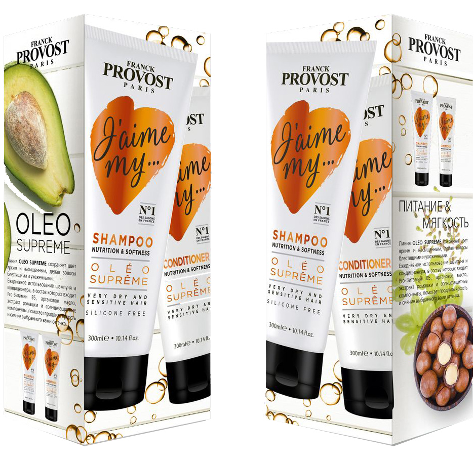 Фото Franck Provost Дуо Набор Oleo Supreme Набор для питания и придания мягкости волосам (шампунь, кондиционер)