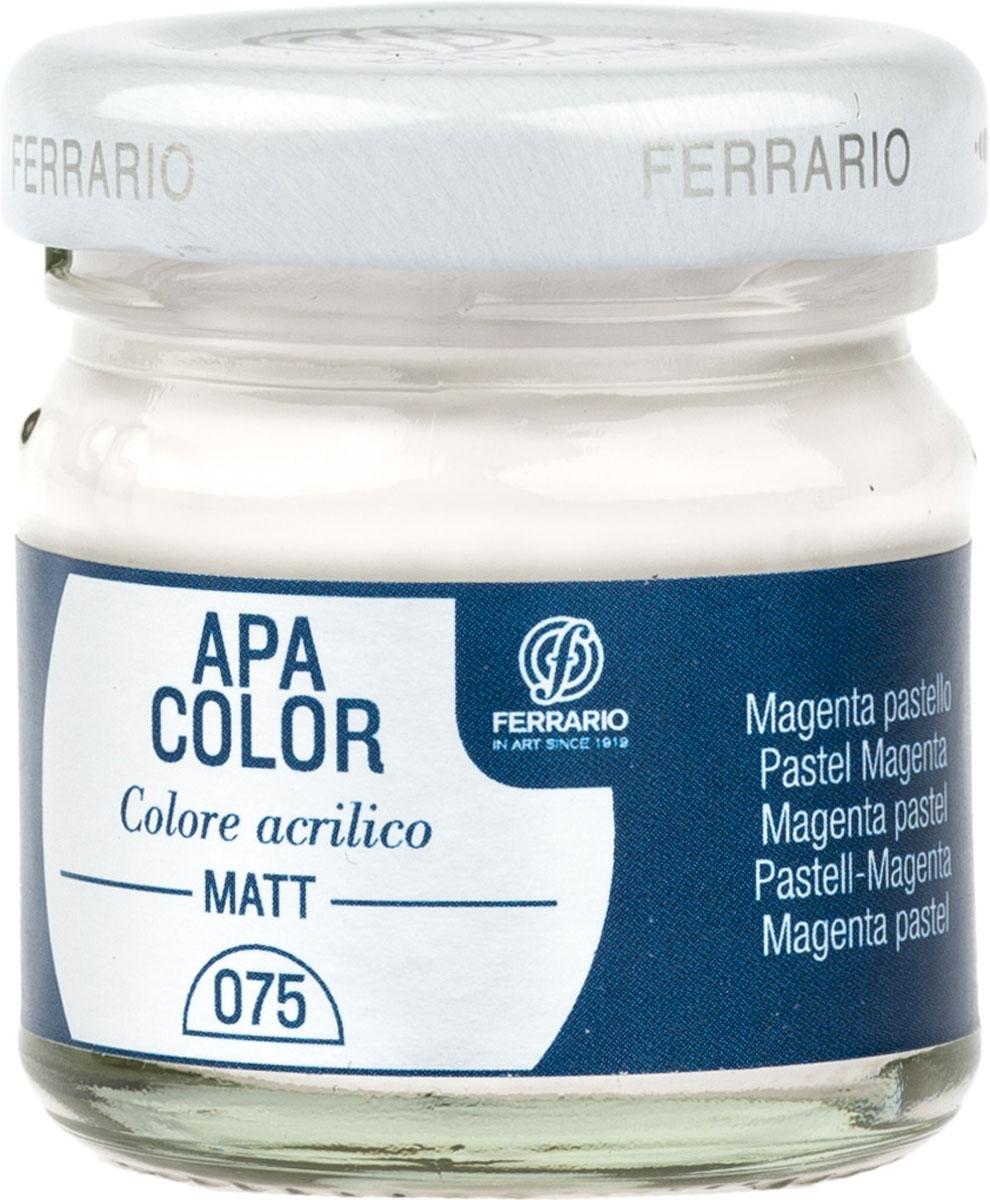 Ferrario Краска акриловая Apa Color цвет маджента пастельнаяBA0040А0075Матовая акриловая краска Apa Color итальянской компании Ferrario на водной основе, готова к использованию. Основные качества акриловой краски Apa Color: прочность, светостойкость и экологичность. Благодаря акриловой смоле Apa Color пластична и не дает трещин. Именно поэтому краска прекрасно ложится на любые поверхности, будь то стекло, дерево или ткань, что особенно хорошо в дизайне и декоре. Она быстро сохнет, после высыхания становится водостойкой. Акриловая краска Apa Color не потускнеет со временем, ее светостойкость не позволит измениться цвету, он не выгорит на солнце и не пожелтеет. Акриловая краска Apa Color – это отличный выбор в пользу яркой живописи, так как в ее палитре только глубокие и насыщенные цвета. Из-за того, что акриловая краска Apa Color на водной основе, она почти совсем не пахнет, малотоксична – подходит для работы в помещениях, можно заниматься творчеством вместе с детьми. Акриловая краска Apa Color разводится водой, однако это не значит, что для нее нельзя использовать специальные растворители и медиумы, предназначенные для акриловых красок – в этом случае сохраняется высокая пигментированность, но объем краски увеличивается и появляется возможность создания различных фактур и эффектов. Акриловую краску Apa Color легко наносить кистью, шпателем, валиком.