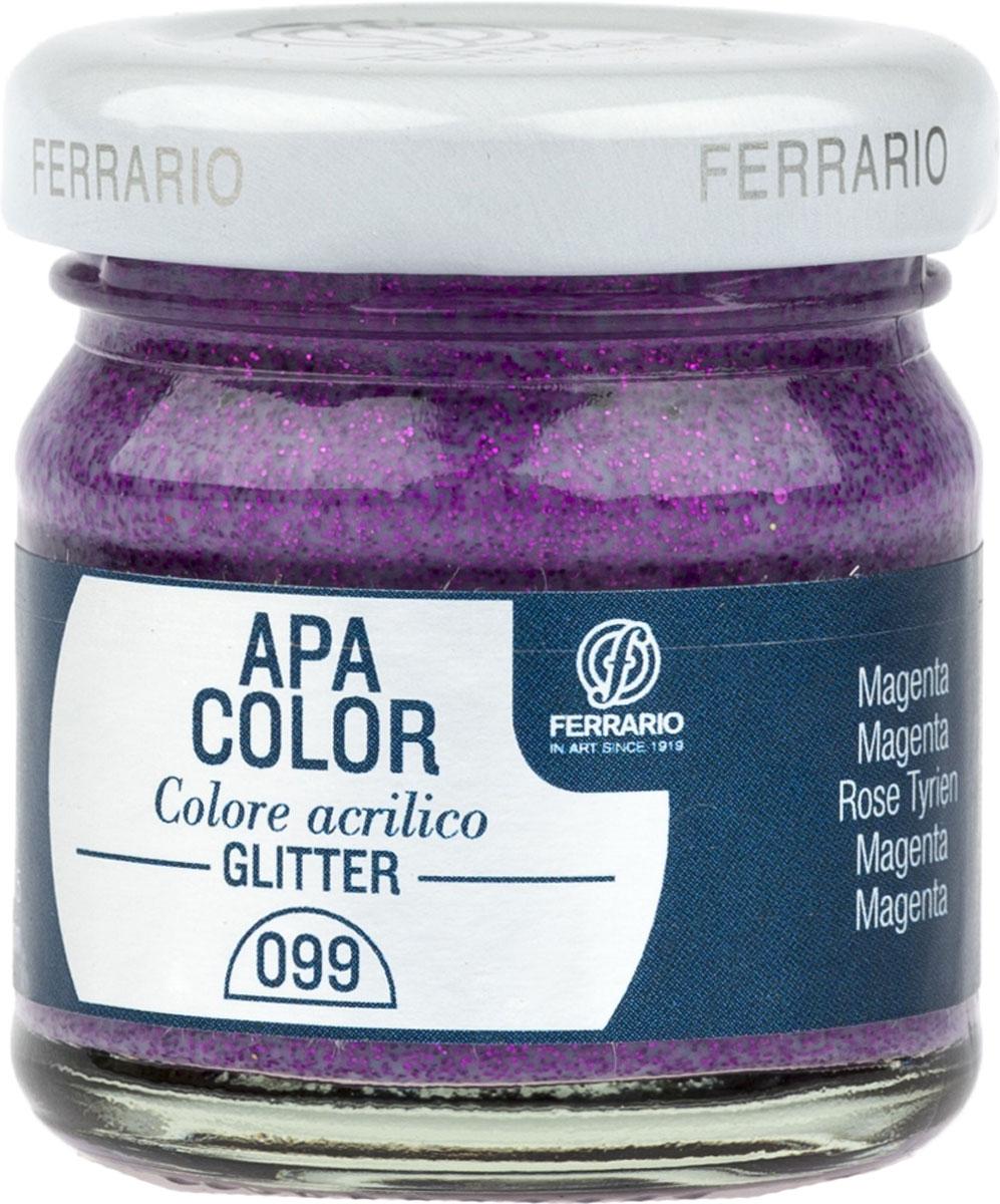Ferrario Краска акриловая Apa Color цвет маджента с глиттерамиBA0040В0099Акриловая краска Apa Color с глиттерами итальянской компании Ferrario на водной основе, готова к использованию. Основные качества акриловой краски Apa Color: прочность, светостойкость и экологичность. Благодаря акриловой смоле Apa Color пластична и не дает трещин. Именно поэтому краска прекрасно ложится на любые поверхности, будь то стекло, дерево или ткань, что особенно хорошо в дизайне и декоре. Она быстро сохнет, после высыхания становится водостойкой. Акриловая краска Apa Color не потускнеет со временем, ее светостойкость не позволит измениться цвету, он не выгорит на солнце и не пожелтеет. Акриловая краска Apa Color – это отличный выбор в пользу яркой живописи, так как в ее палитре только глубокие и насыщенные цвета. Из-за того, что акриловая краска Apa Color на водной основе, она почти совсем не пахнет, малотоксична – подходит для работы в помещениях, можно заниматься творчеством вместе с детьми. Акриловая краска Apa Color разводится водой, однако это не значит, что для нее нельзя использовать специальные растворители и медиумы, предназначенные для акриловых красок – в этом случае сохраняется высокая пигментированность, но объем краски увеличивается и появляется возможность создания различных фактур и эффектов. Акриловую краску Apa Color легко наносить кистью, шпателем, валиком.