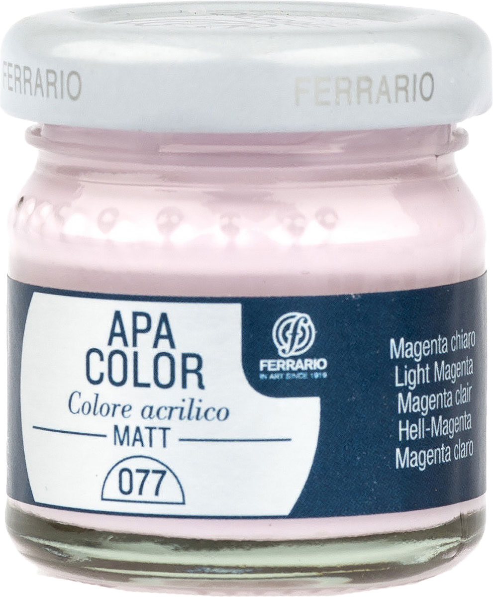 Ferrario Краска акриловая Apa Color цвет маджента светлаяBA0040А0077Матовая акриловая краска Apa Color итальянской компании Ferrario на водной основе, готова к использованию. Основные качества акриловой краски Apa Color: прочность, светостойкость и экологичность. Благодаря акриловой смоле Apa Color пластична и не дает трещин. Именно поэтому краска прекрасно ложится на любые поверхности, будь то стекло, дерево или ткань, что особенно хорошо в дизайне и декоре. Она быстро сохнет, после высыхания становится водостойкой. Акриловая краска Apa Color не потускнеет со временем, ее светостойкость не позволит измениться цвету, он не выгорит на солнце и не пожелтеет. Акриловая краска Apa Color – это отличный выбор в пользу яркой живописи, так как в ее палитре только глубокие и насыщенные цвета. Из-за того, что акриловая краска Apa Color на водной основе, она почти совсем не пахнет, малотоксична – подходит для работы в помещениях, можно заниматься творчеством вместе с детьми. Акриловая краска Apa Color разводится водой, однако это не значит, что для нее нельзя использовать специальные растворители и медиумы, предназначенные для акриловых красок – в этом случае сохраняется высокая пигментированность, но объем краски увеличивается и появляется возможность создания различных фактур и эффектов. Акриловую краску Apa Color легко наносить кистью, шпателем, валиком.
