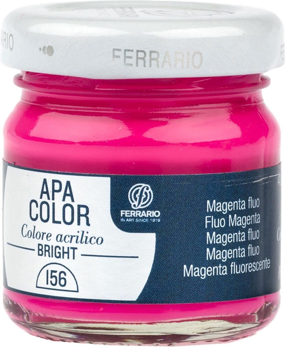 Ferrario Краска акриловая Apa Color цвет маджента флуоресцентный 40 млBA0040С0156Флуоресцентная акриловая краска Apa Color итальянской компании Ferrario на водной основе, готова к использованию. Основные качества акриловой краски Apa Color: прочность, светостойкость и экологичность. Благодаря акриловой смоле Apa Color пластична и не дает трещин. Именно поэтому краска прекрасно ложится на любые поверхности, будь то стекло, дерево или ткань, что особенно хорошо в дизайне и декоре. Она быстро сохнет, после высыхания становится водостойкой. Акриловая краска Apa Color не потускнеет со временем, ее светостойкость не позволит измениться цвету, он не выгорит на солнце и не пожелтеет. Акриловая краска Apa Color – это отличный выбор в пользу яркой живописи, так как в ее палитре только глубокие и насыщенные цвета. Из-за того, что акриловая краска Apa Color на водной основе, она почти совсем не пахнет, малотоксична – подходит для работы в помещениях, можно заниматься творчеством вместе с детьми. Акриловая краска Apa Color разводится водой, однако это не значит, что для нее нельзя использовать специальные растворители и медиумы, предназначенные для акриловых красок – в этом случае сохраняется высокая пигментированность, но объем краски увеличивается и появляется возможность создания различных фактур и эффектов. Акриловую краску Apa Color легко наносить кистью, шпателем, валиком.